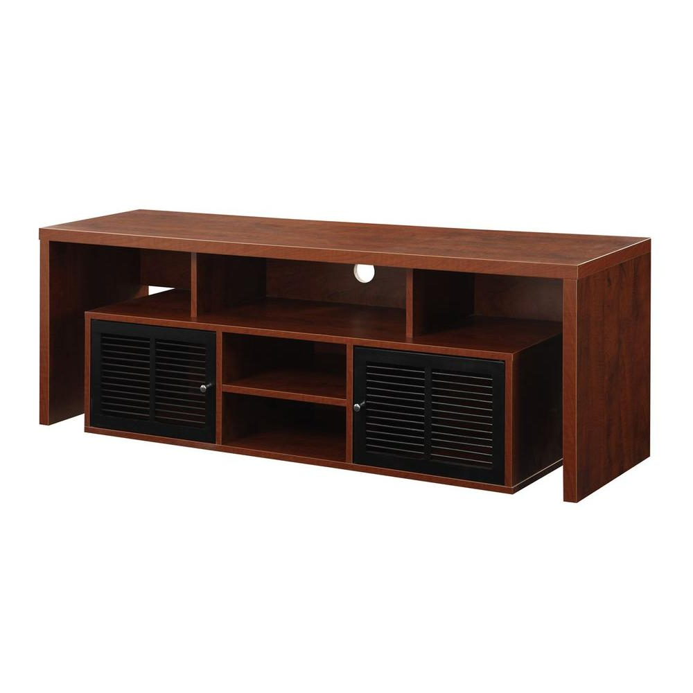 Sauder Beginnings Cinnamon Cherry Shelved Entertainment Center Intended For Lauderdale 74 Inch Tv Stands (View 14 of 20)