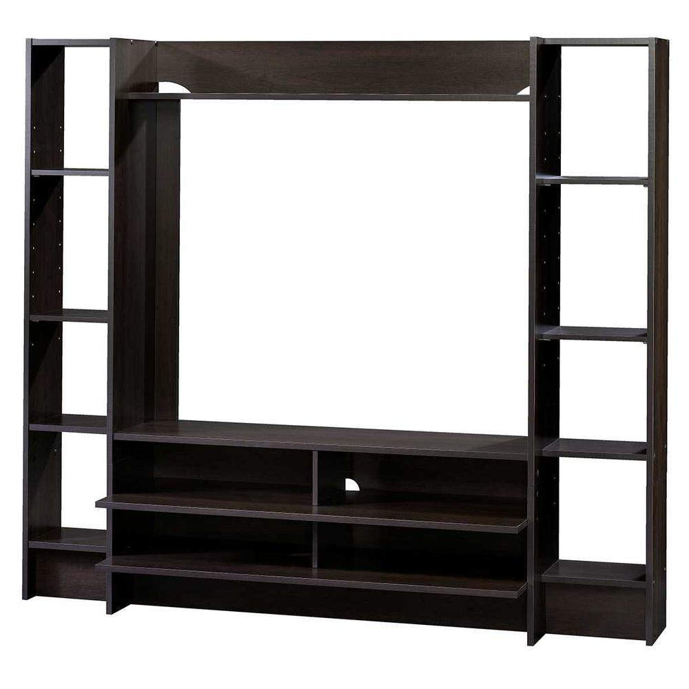 Sauder Beginnings Cinnamon Cherry Shelved Entertainment Center Pertaining To Lauderdale 74 Inch Tv Stands (Gallery 10 of 20)