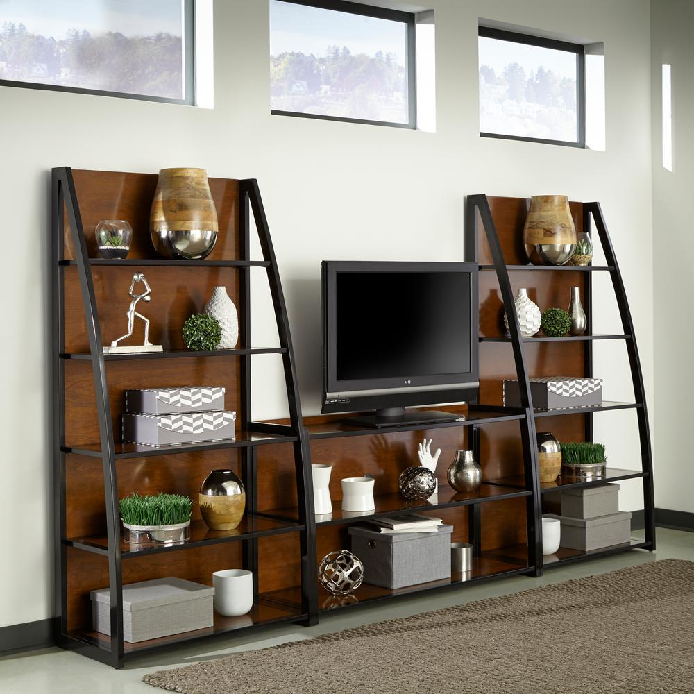 Sauder Beginnings Cinnamon Cherry Shelved Entertainment Center Within Lauderdale 74 Inch Tv Stands (Gallery 13 of 20)