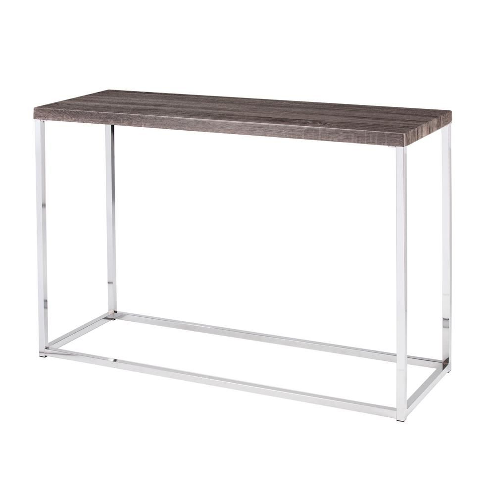 Serena Gray Console Table, Sun Bleached Gray W/grey | Products Pertaining To Parsons White Marble Top & Dark Steel Base 48X16 Console Tables (Gallery 13 of 20)