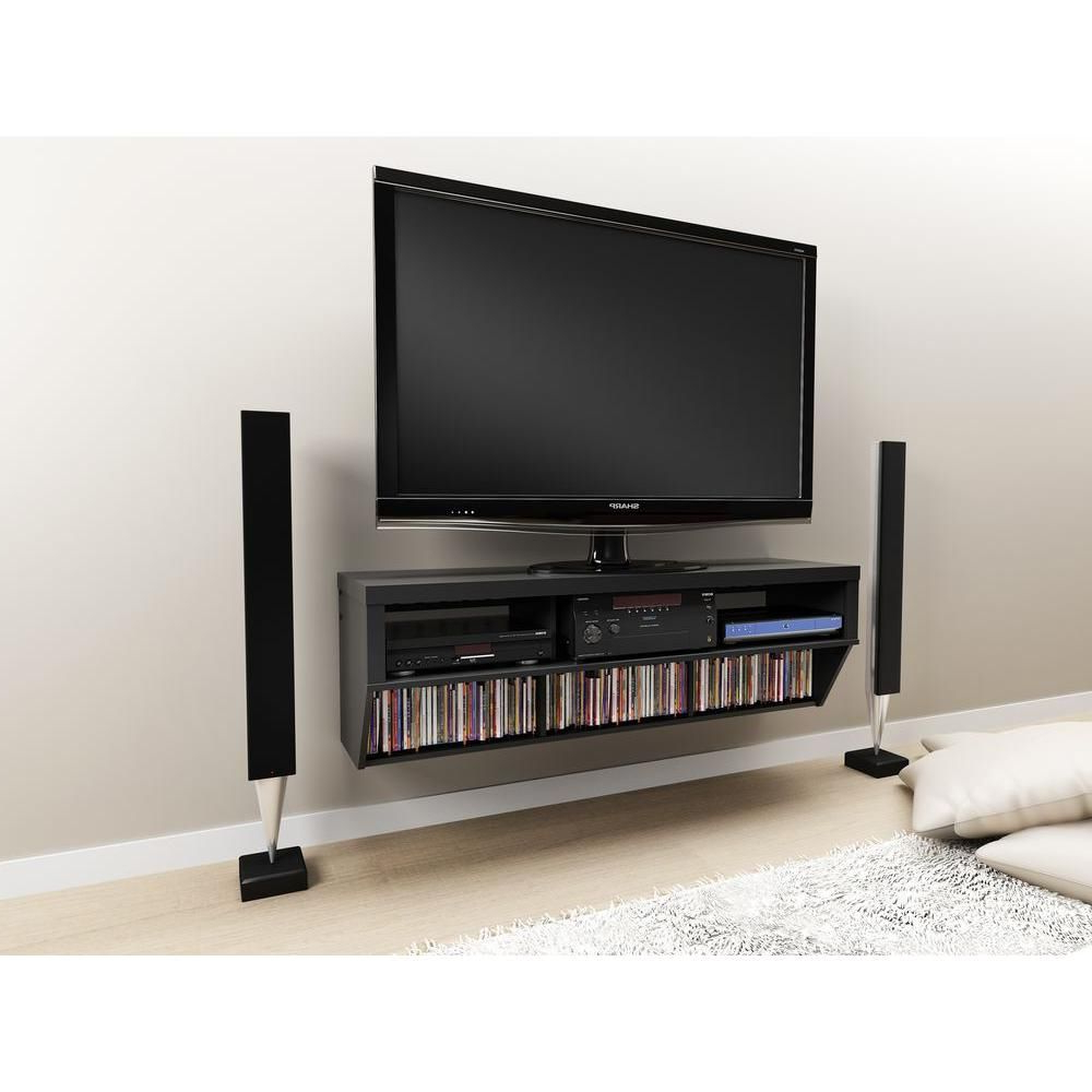 Series 9 Wall Mounted Tv Stand In Black | Products | Wall Mounted Tv Intended For Casey Grey 74 Inch Tv Stands (View 8 of 20)