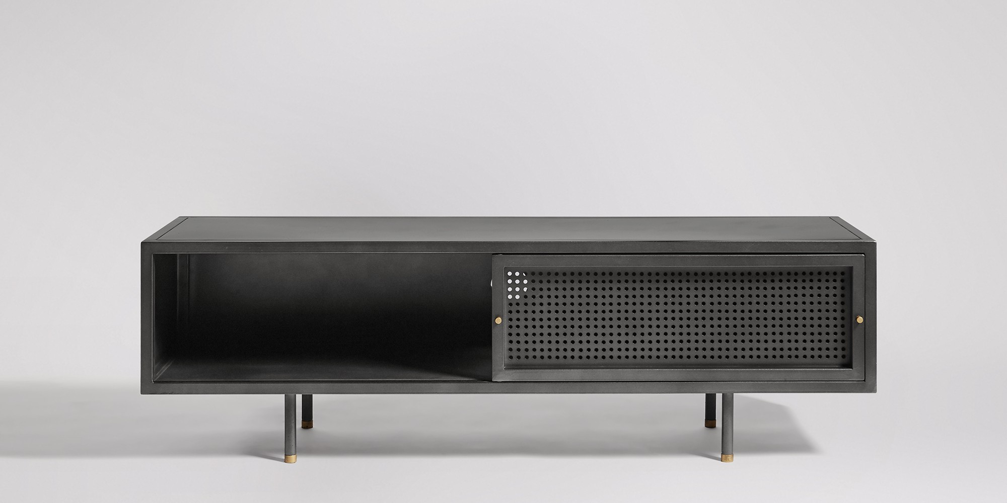Sheffield Gunmetal & Brass Media Unit | Swoon Editions Inside Gunmetal Perforated Brass Media Console Tables (Gallery 8 of 20)
