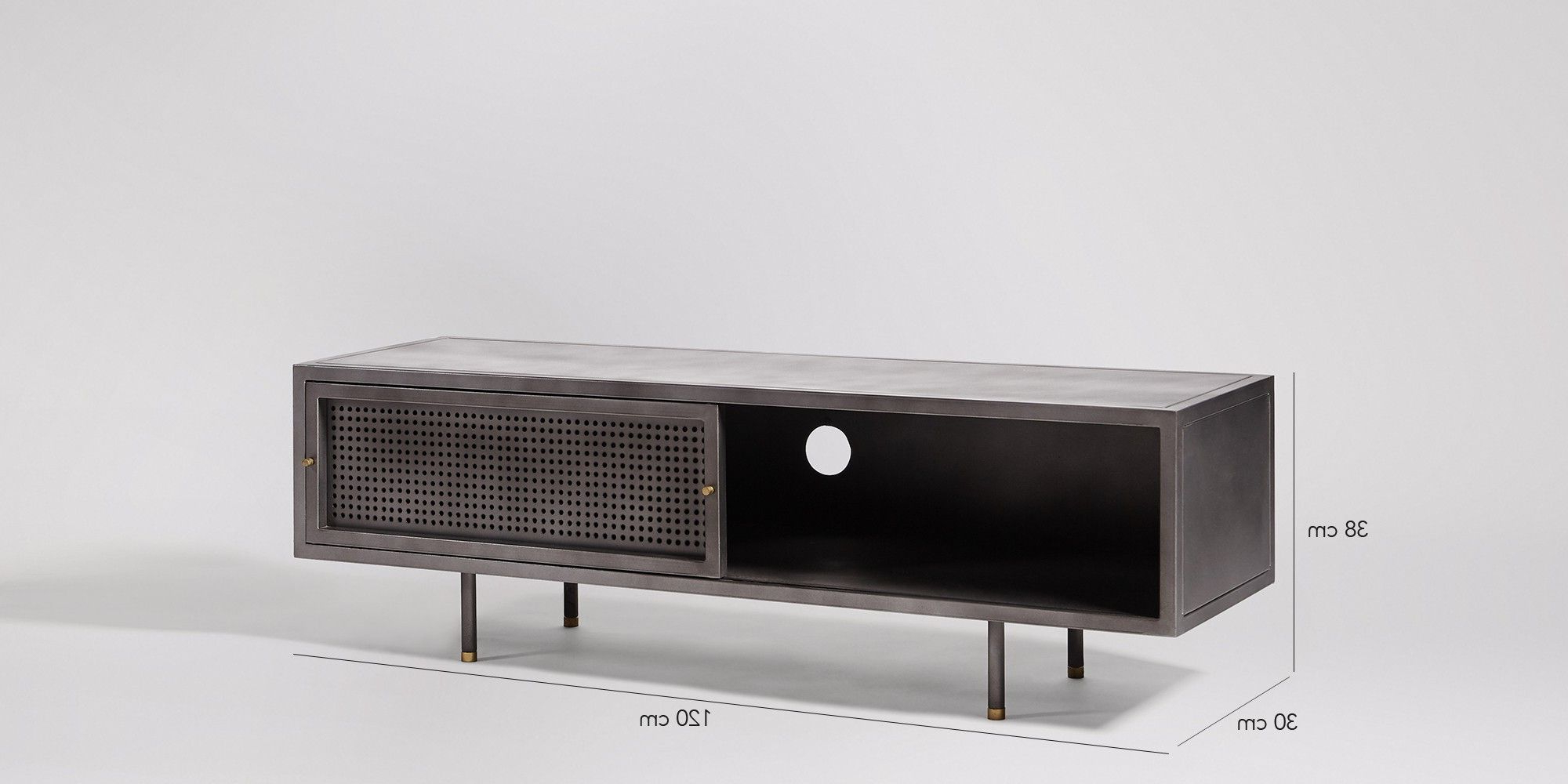 Sheffield Media Unit In Gunmetal And Brass | Console Table Pertaining To Gunmetal Media Console Tables (Gallery 1 of 20)