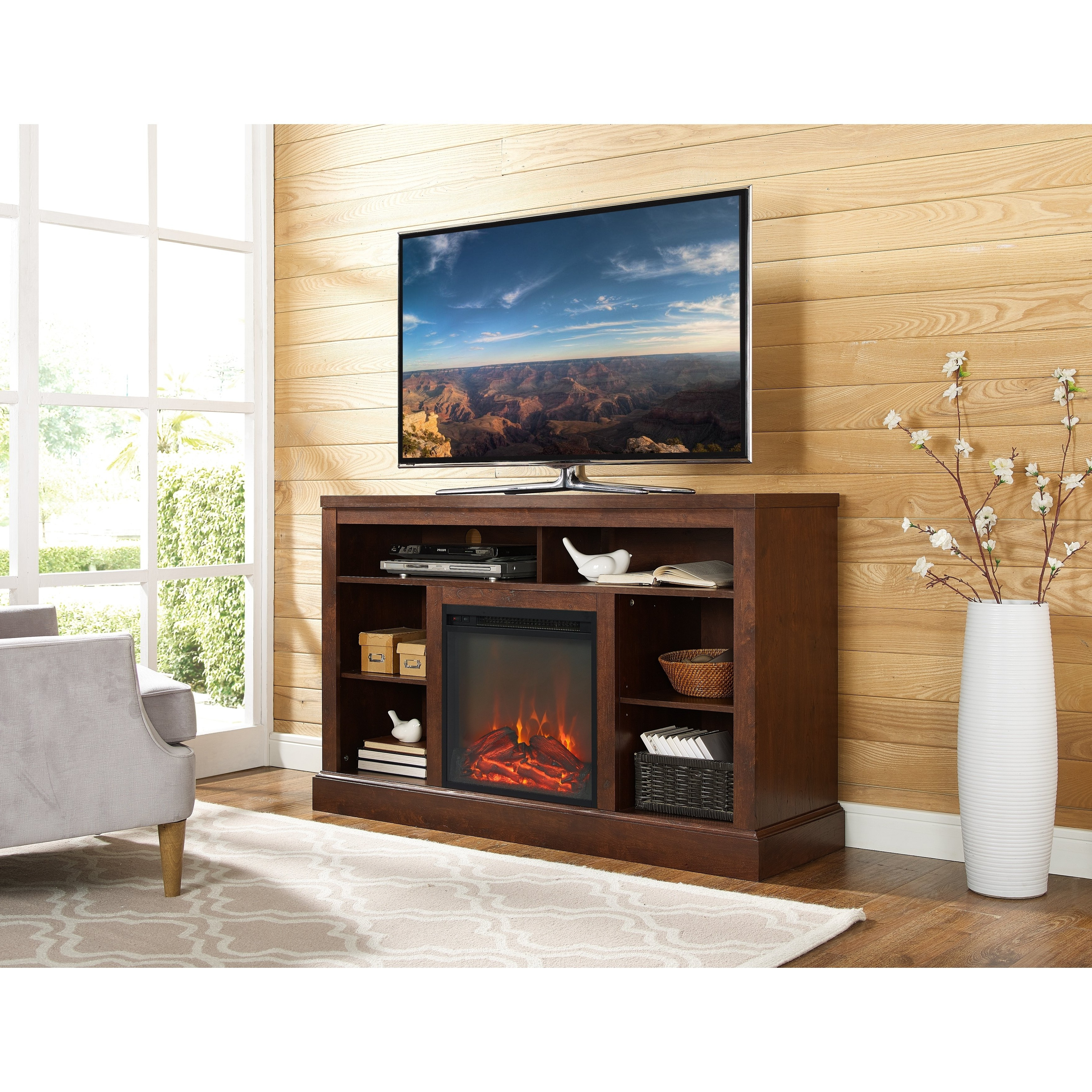 "Shop 52"" Highboy Fireplace Tv Stand Console – Traditional Brown – 52 Inside Canyon 64 Inch Tv Stands (View 14 of 20)"