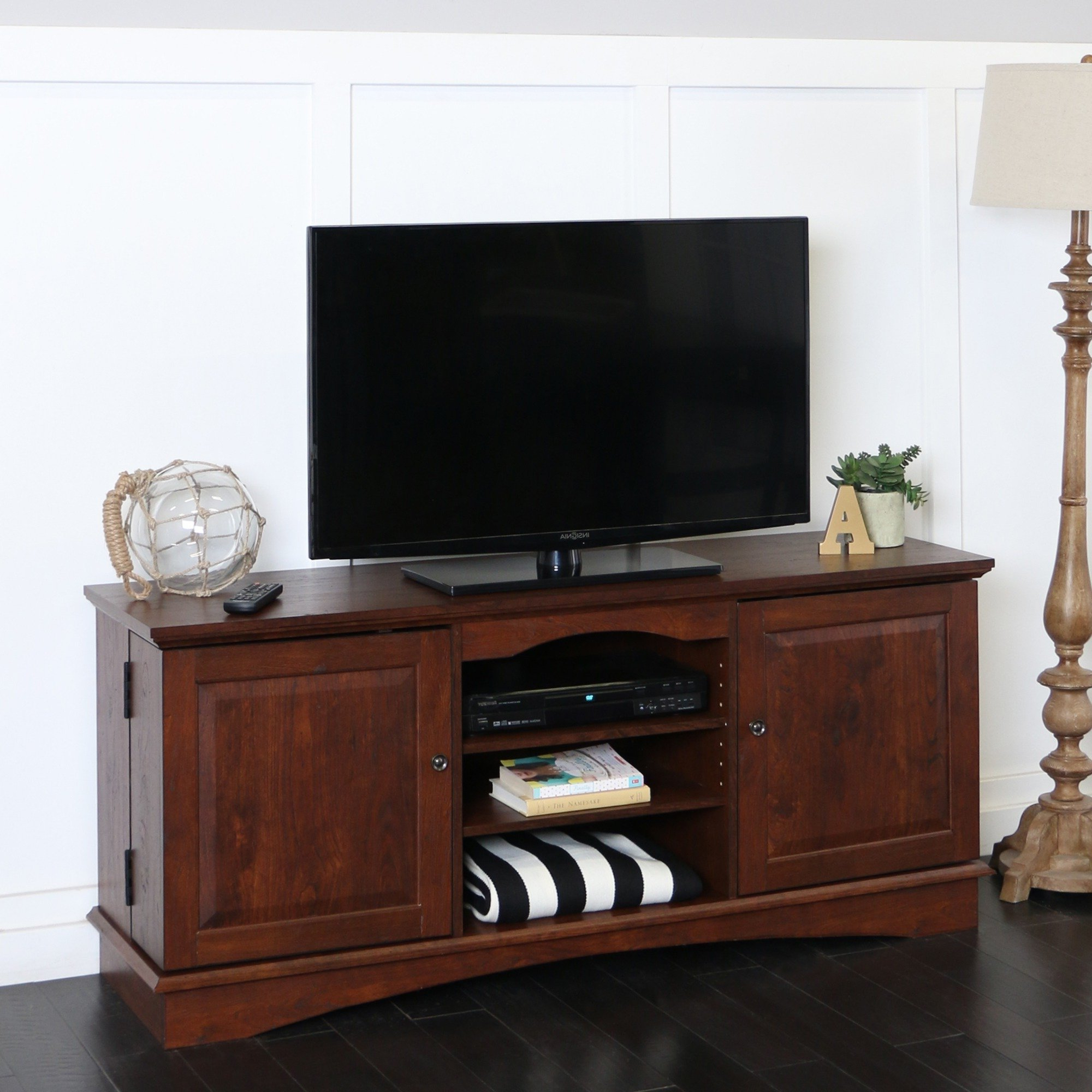"Shop 57"" Tv Stand Console – Traditional Brown – 57 X 16 X 25H – On Throughout Century Sky 60 Inch Tv Stands (Gallery 1 of 20)"