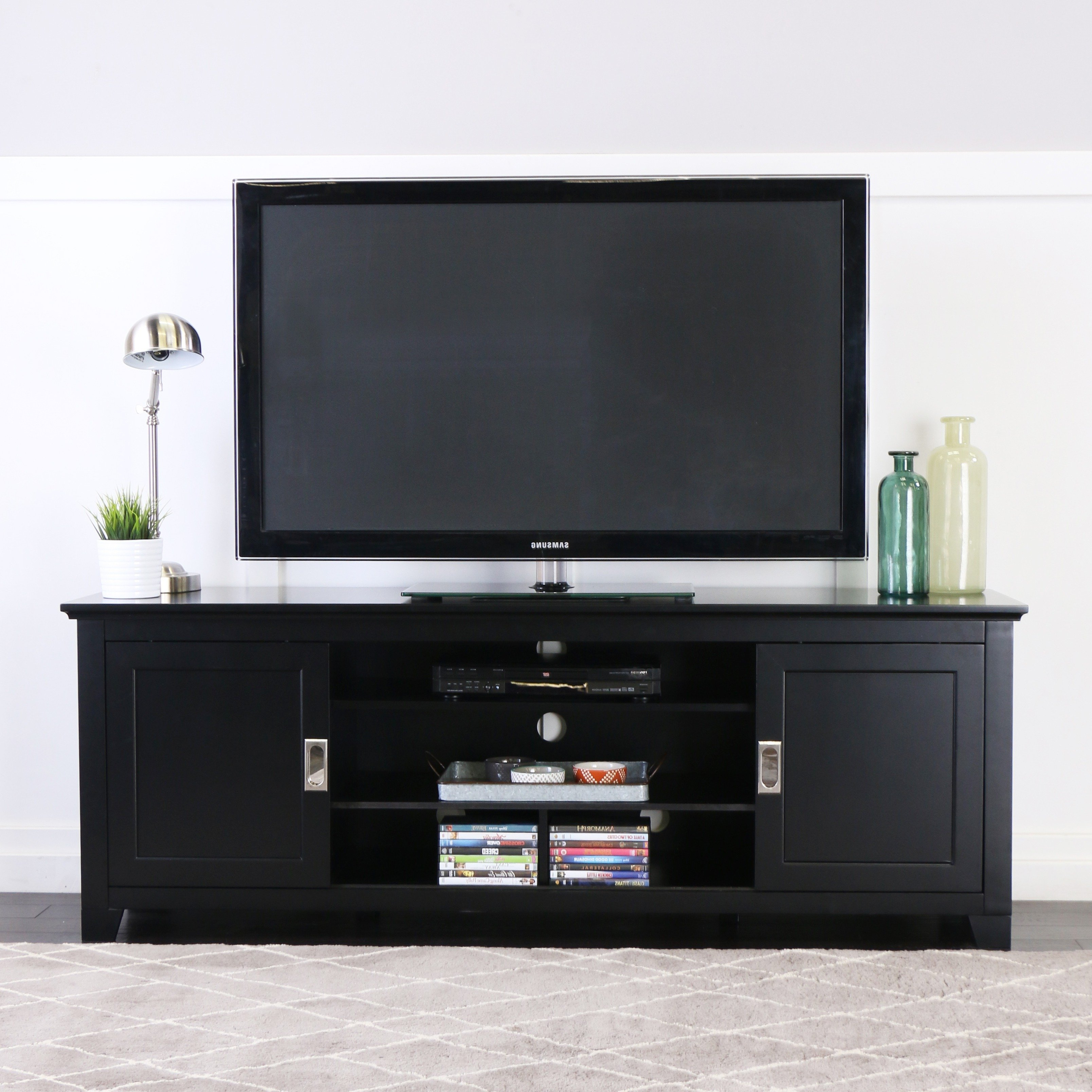 "Shop 70"" Tv Stand Console With Sliding Doors – Black – 70 X 18 X 25H For Century Sky 60 Inch Tv Stands (View 14 of 20)"