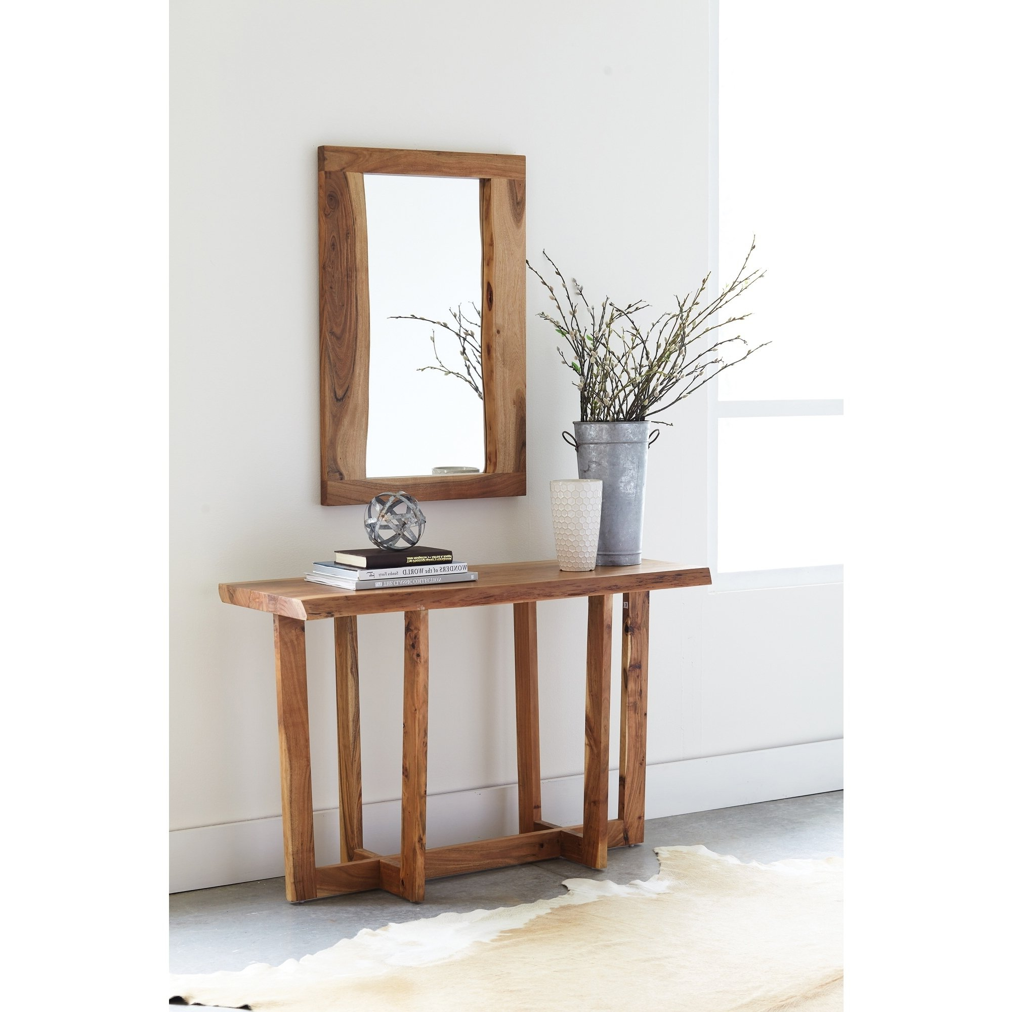 Shop Berkshire Natural Live Edge Wood Media Console Table, Natural With Natural Wood Mirrored Media Console Tables (View 9 of 20)