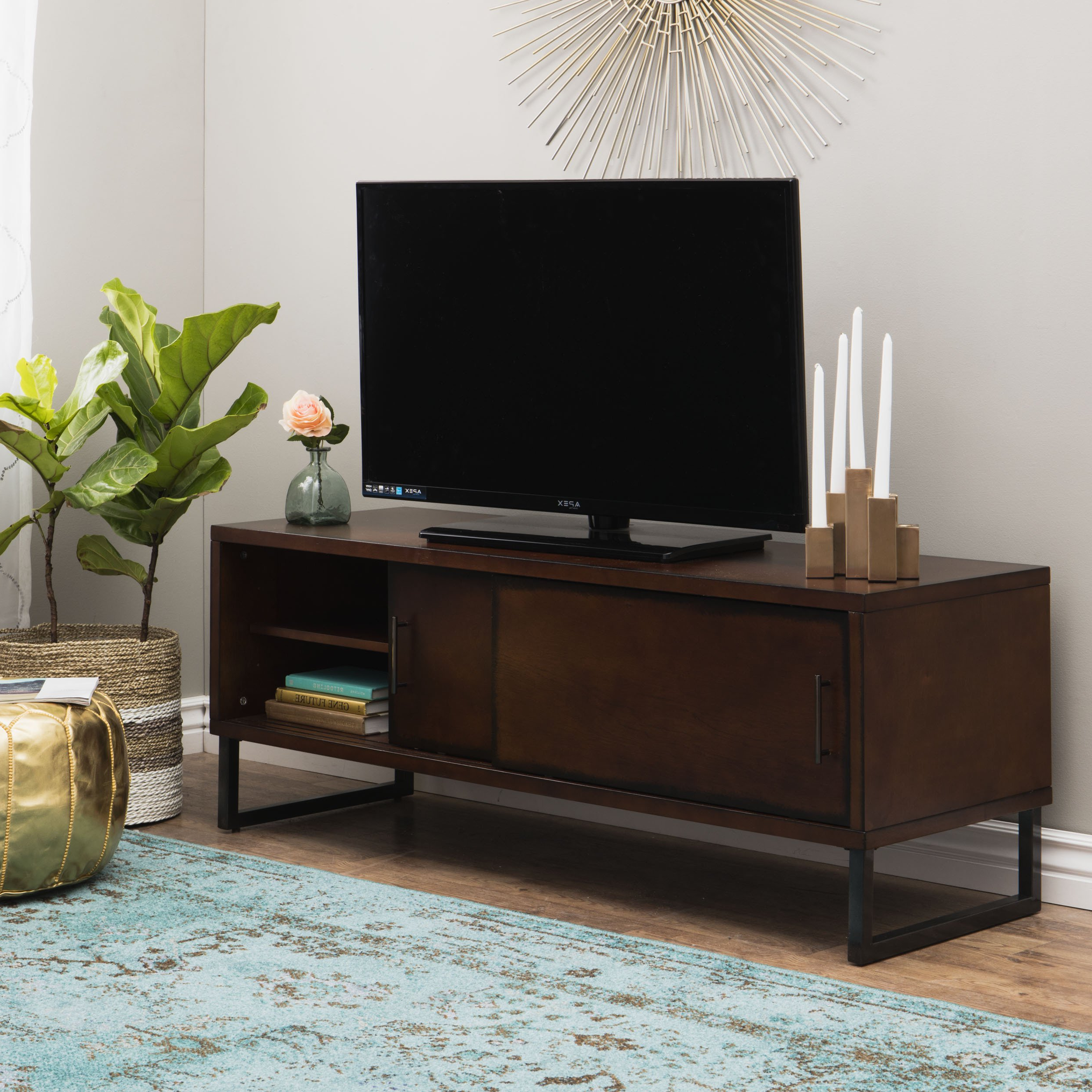 Shop Carbon Loft 54 Inch Breckenridge Walnut Entertainment Center With Rowan 74 Inch Tv Stands (View 10 of 20)