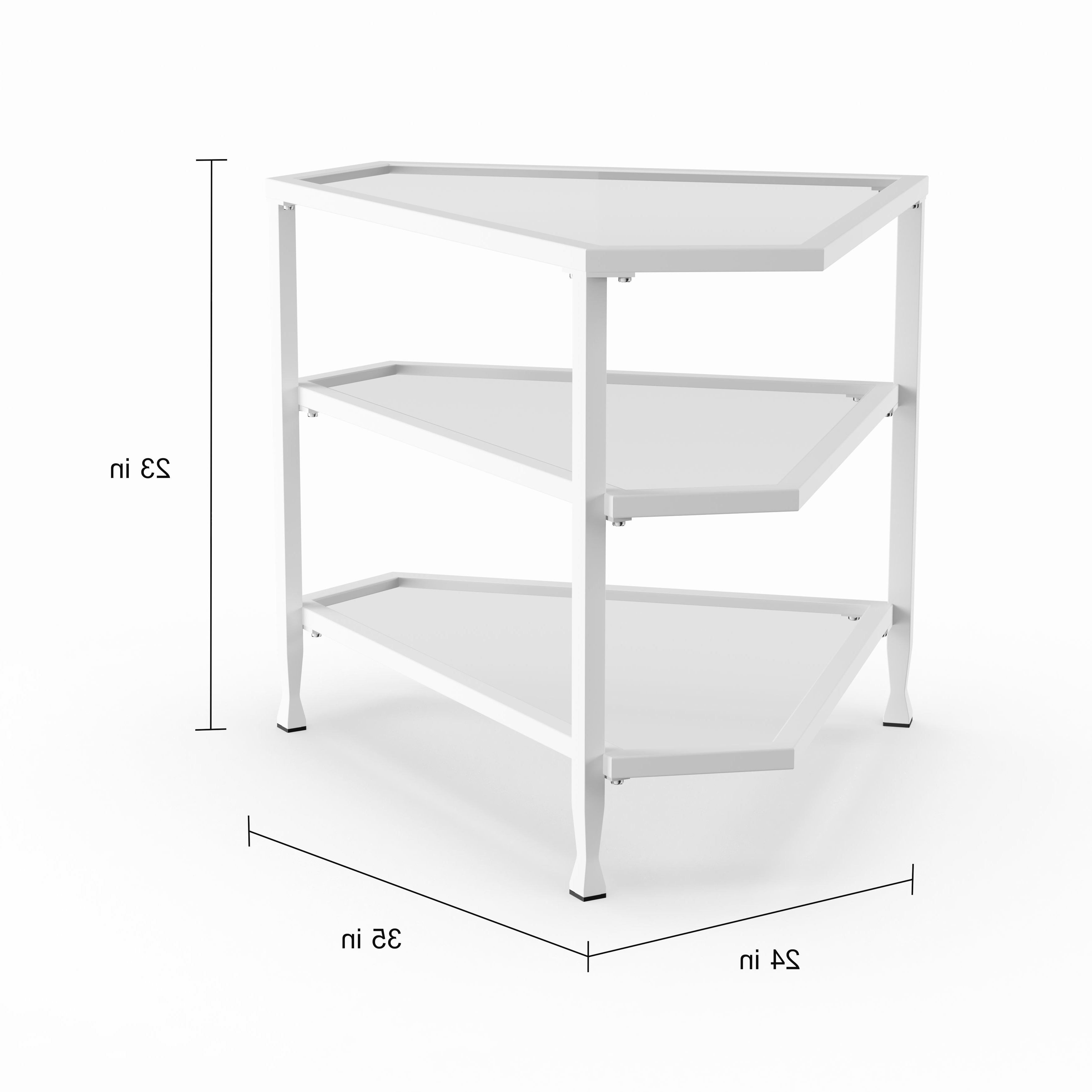 Shop Carbon Loft Glenn White Metal/ Glass Corner Tv Stand – On Sale Inside Kilian Grey 60 Inch Tv Stands (View 19 of 20)