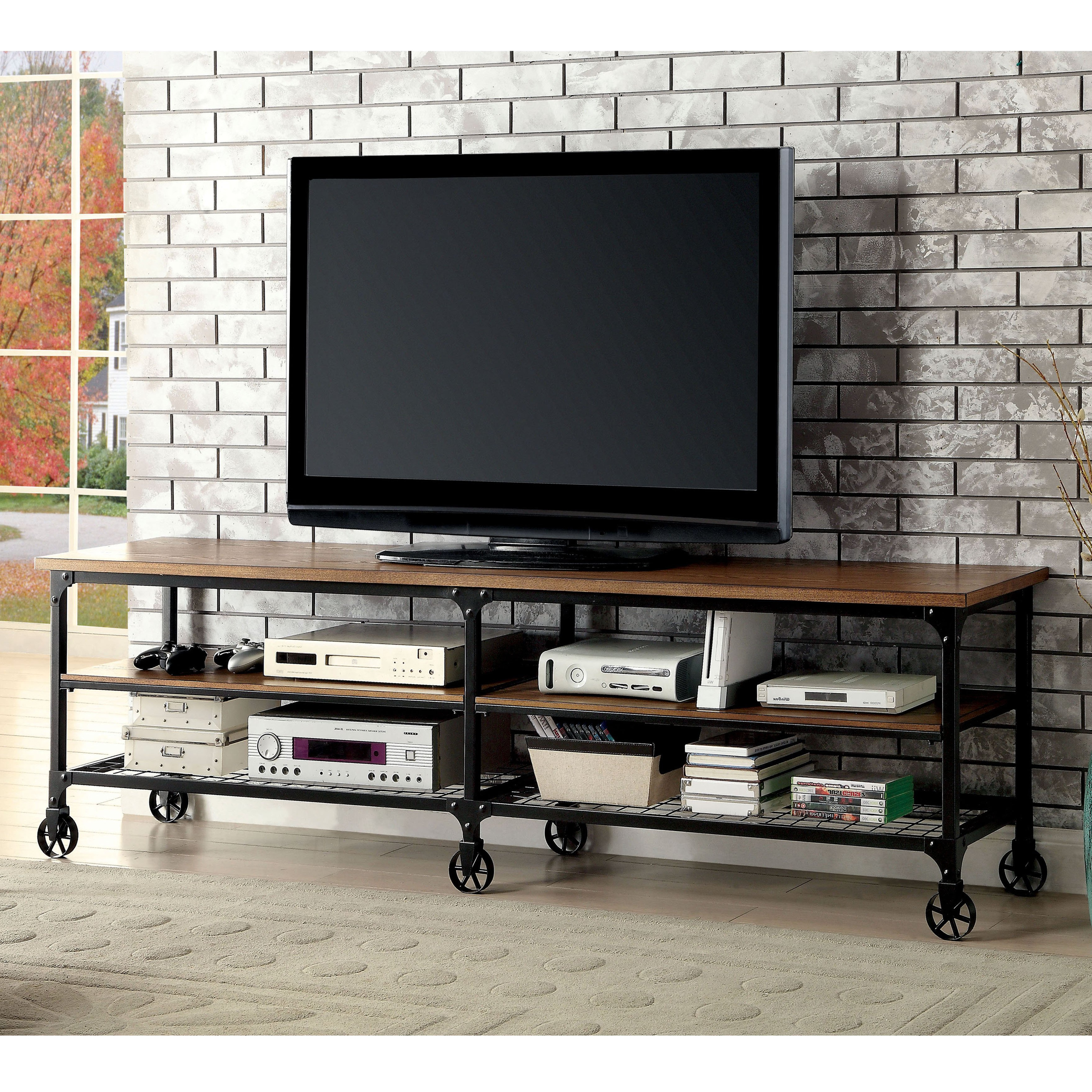 Shop Carbon Loft Halligan Industrial Medium Oak Tv Stand – On Sale Inside Canyon 74 Inch Tv Stands (View 12 of 20)