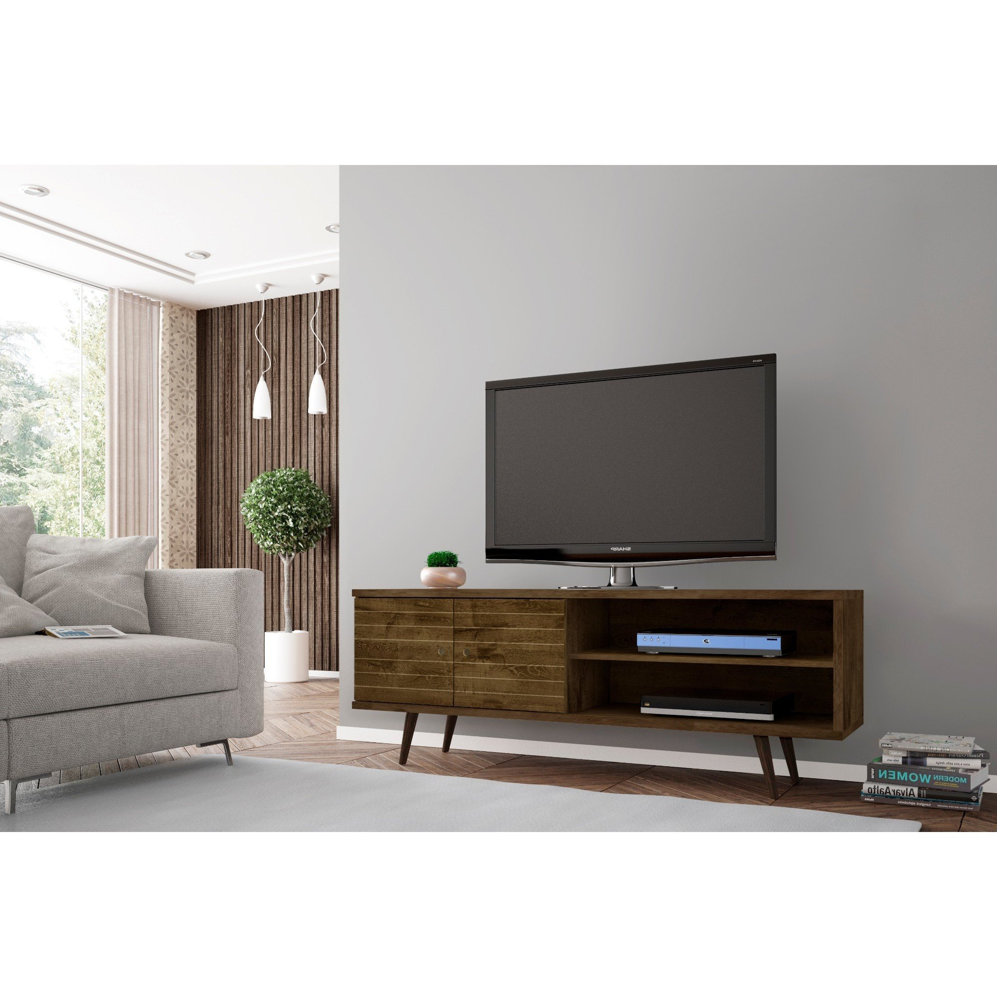 Shop Carson Carrington Sortland Wooden Modern Tv Stand – On Sale In Century Blue 60 Inch Tv Stands (View 17 of 20)
