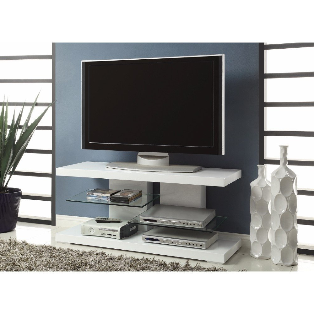Shop Charming White Tv Console With Alternating Glass Shelves – Free Within Maddy 60 Inch Tv Stands (View 14 of 20)