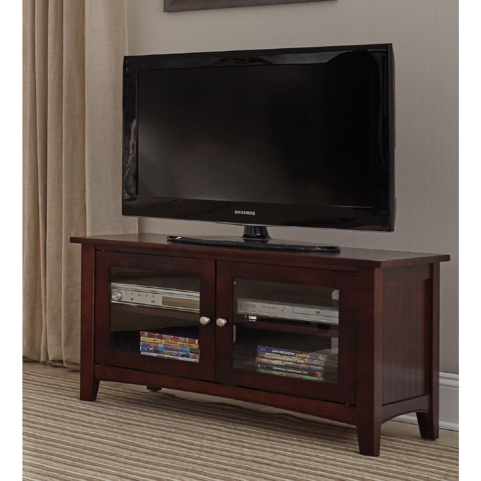 Shop Copper Grove Taber 36 Inch Wood Tv Stand With Glass Doors Inside Laurent 70 Inch Tv Stands (View 15 of 20)