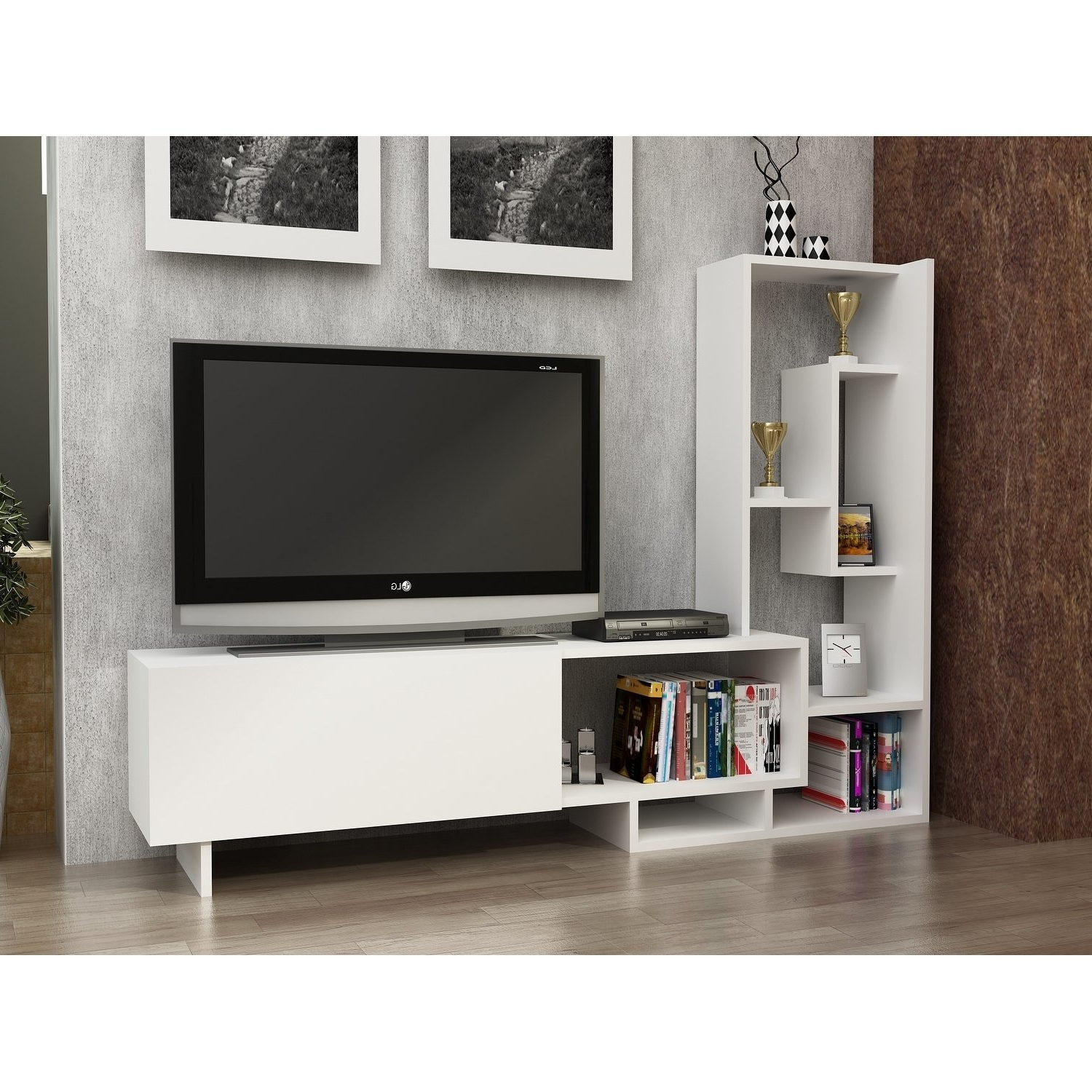 Shop Decorotika Pegai White Wood 60 Inch Tv Stand With Bookshelves Within Canyon 54 Inch Tv Stands (View 10 of 20)