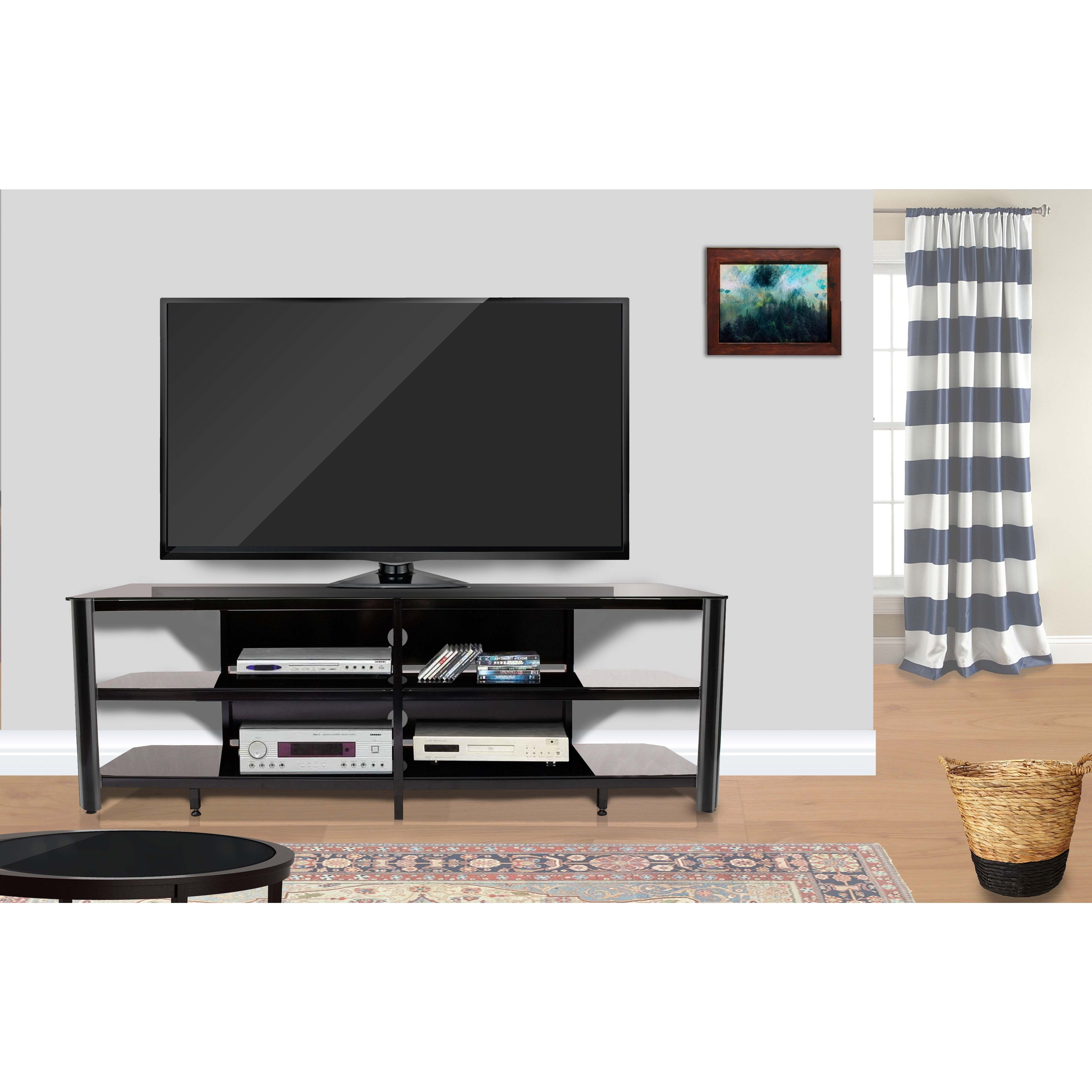 Shop Fold 'n' Snap Oxford 73 Inch Black Innovex Tv Stand – Free Regarding Oxford 60 Inch Tv Stands (Gallery 4 of 20)