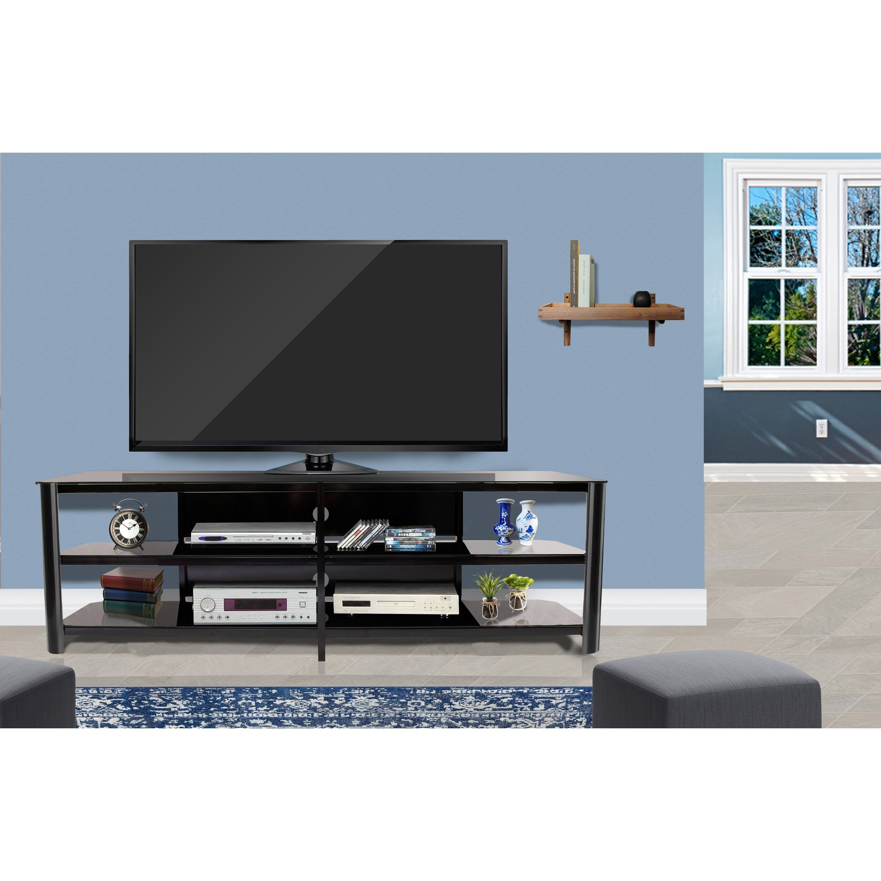 Shop Fold 'n' Snap Oxford Ez Black Innovex Tv Stand – Free Shipping Regarding Oxford 84 Inch Tv Stands (Gallery 11 of 20)