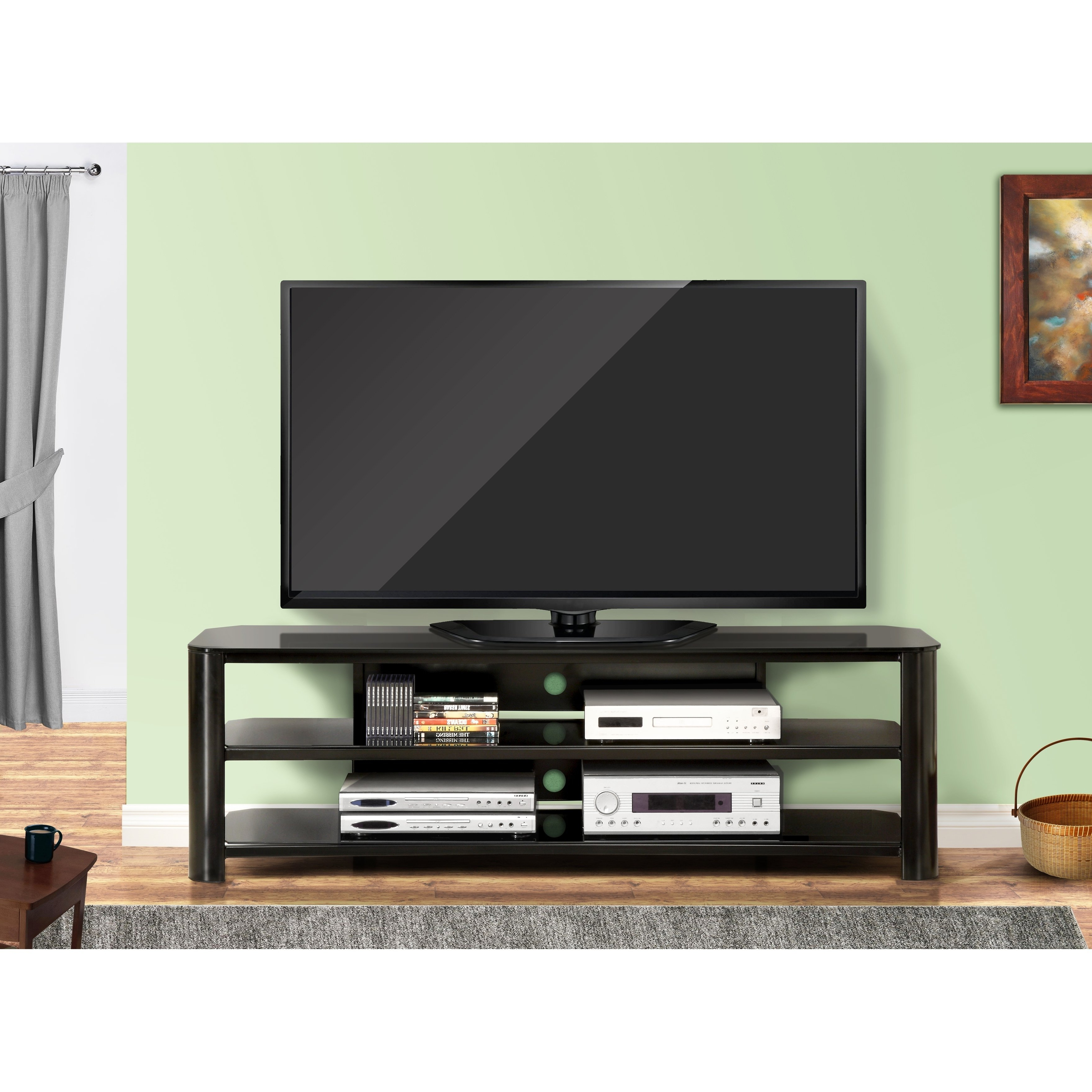 Shop Fold 'n' Snap Oxford Ez Black Innovex Tv Stand – Free Shipping With Regard To Oxford 84 Inch Tv Stands (View 15 of 20)