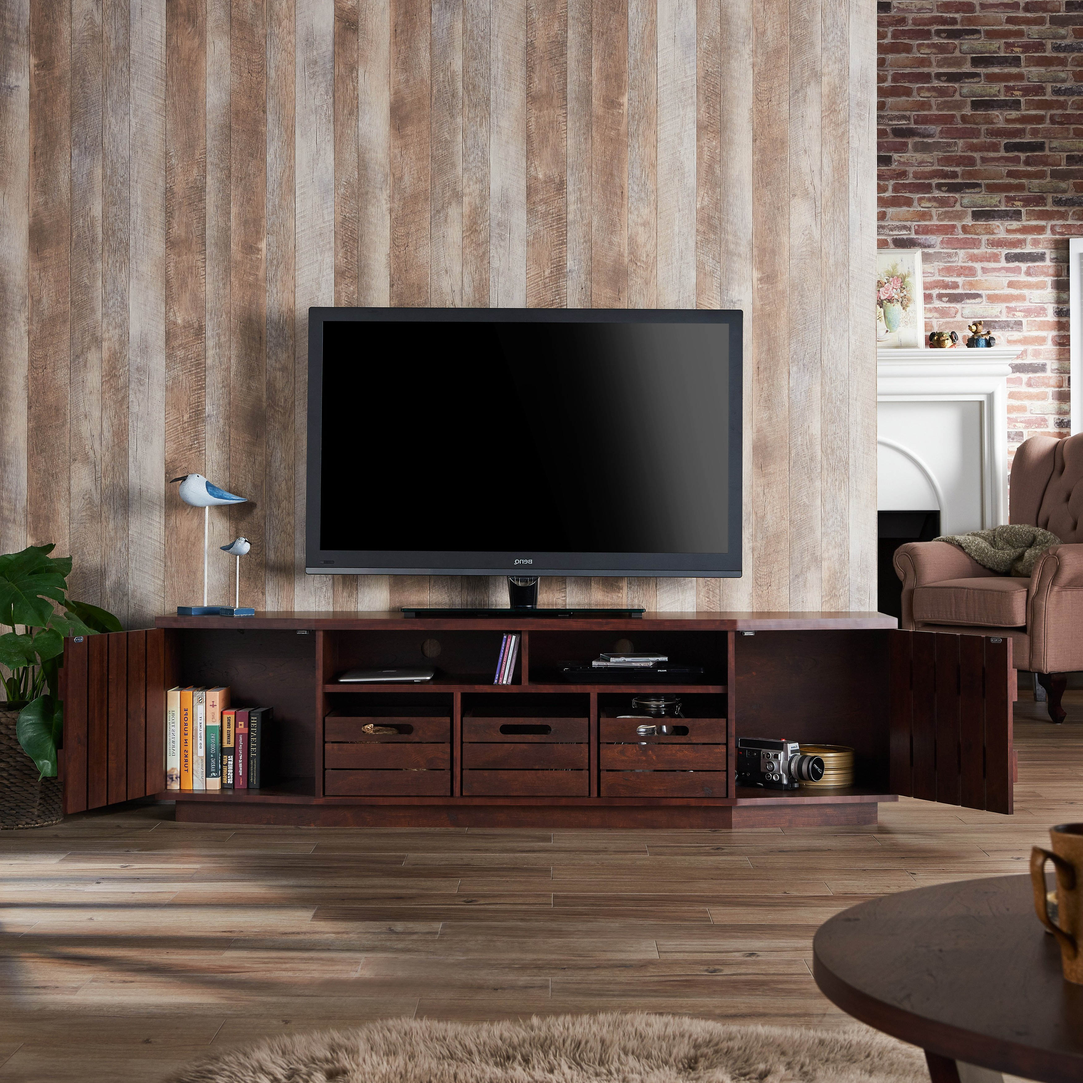 Shop Furniture Of America Harla Rustic 70 Inch Tv Stand With Inside Casey Grey 54 Inch Tv Stands (Gallery 9 of 20)