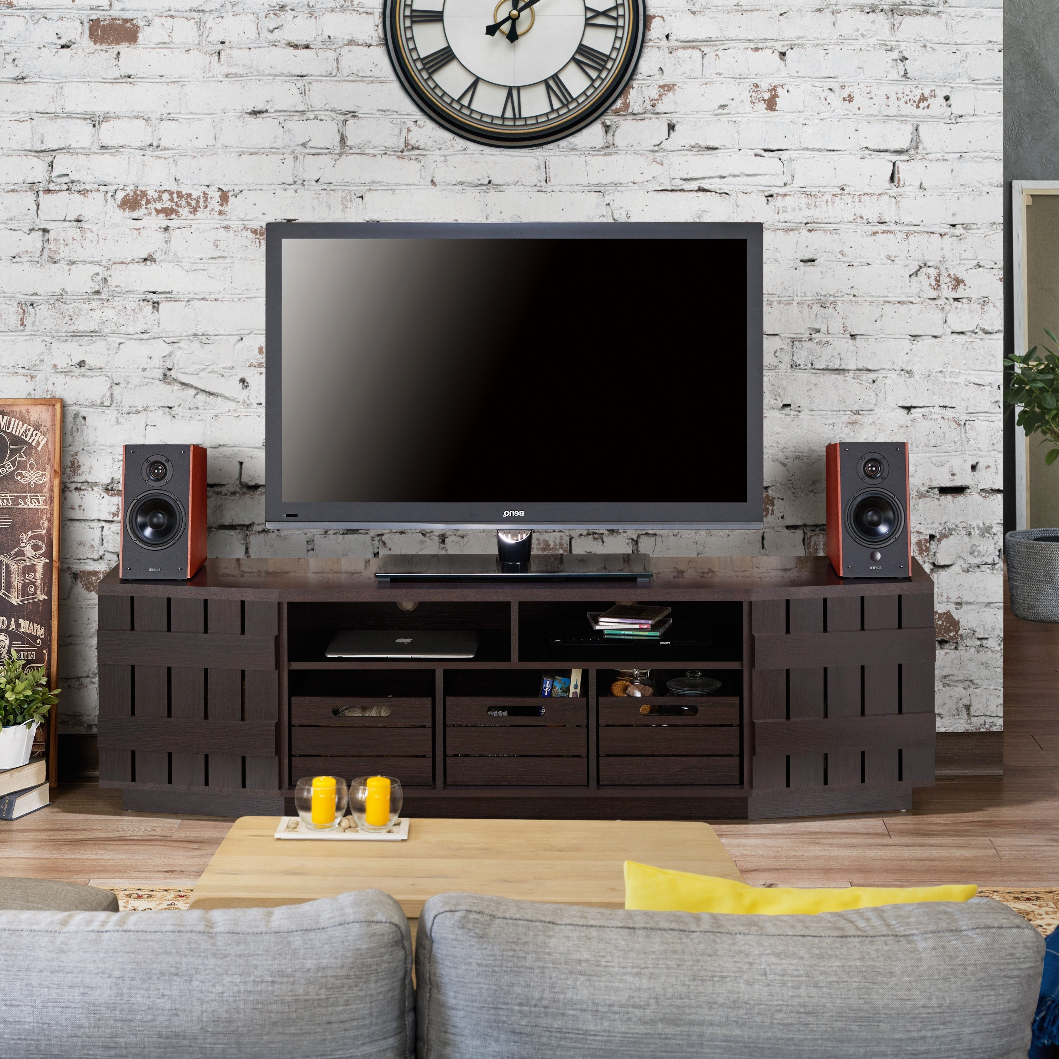 Shop Furniture Of America Harla Rustic 70 Inch Tv Stand With Regarding Casey Grey 54 Inch Tv Stands (View 10 of 20)