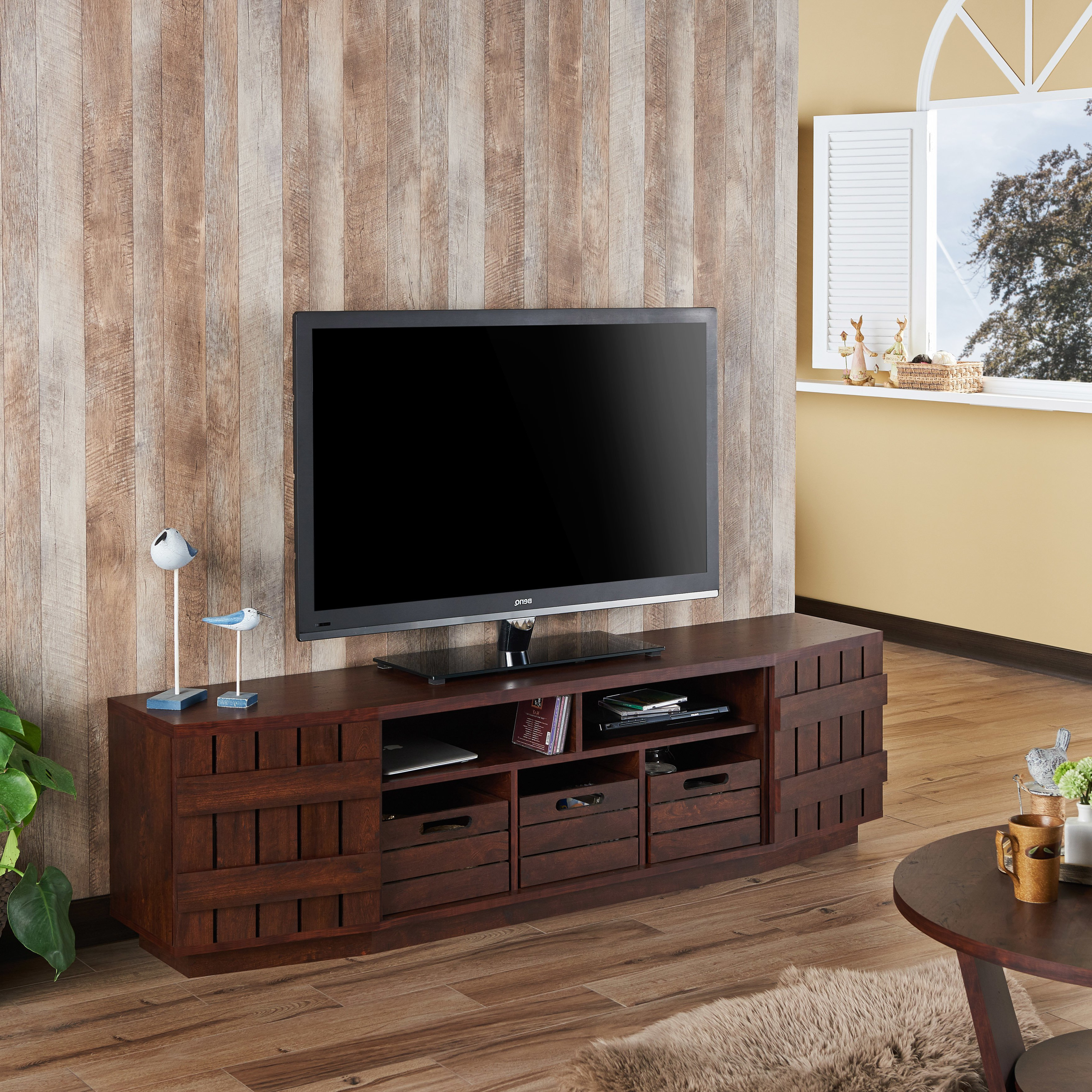 Shop Furniture Of America Harla Rustic 70 Inch Tv Stand With With Regard To Casey Grey 54 Inch Tv Stands (View 8 of 20)