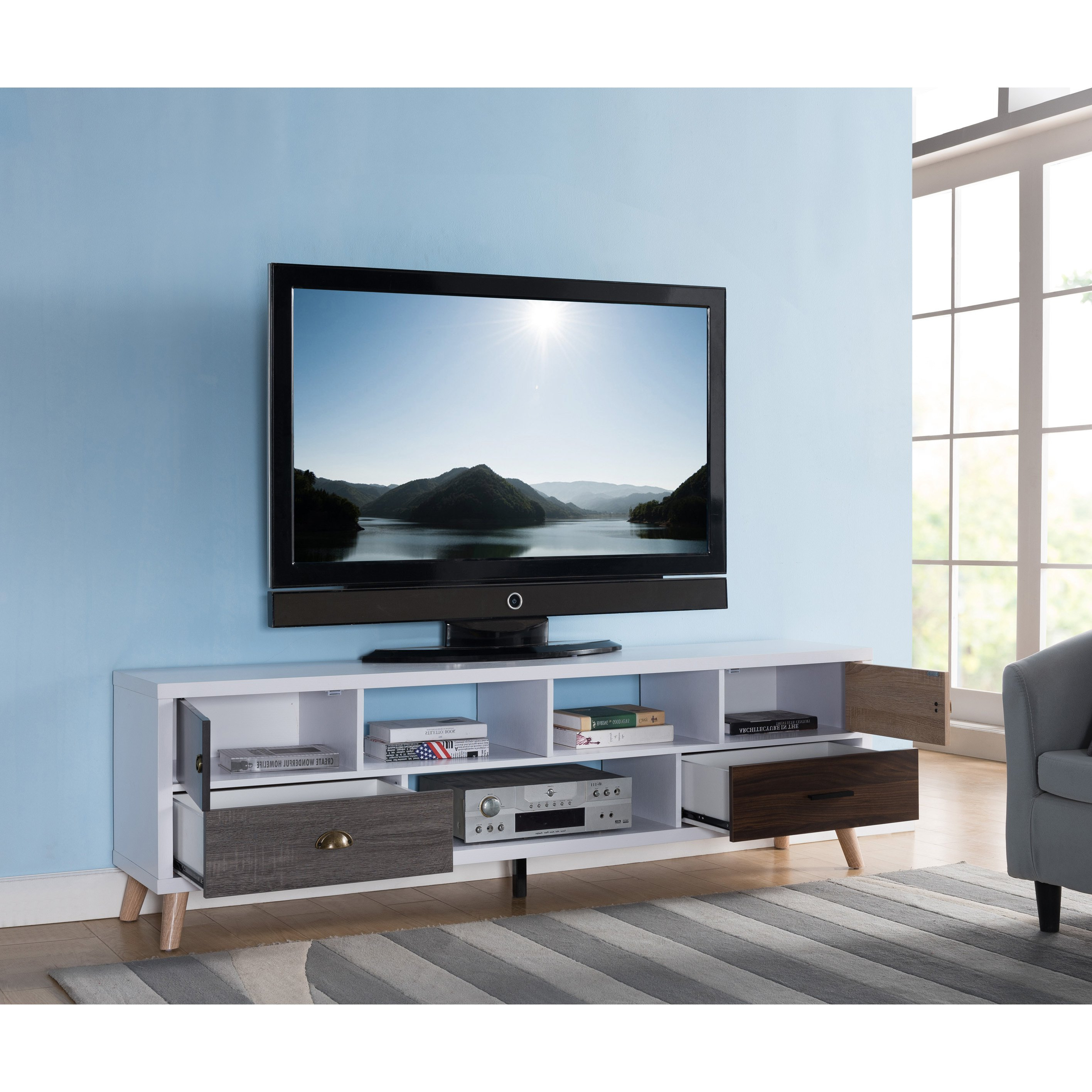 Shop Furniture Of America Kristen Mid Century Modern Multicolored Throughout Casey Grey 74 Inch Tv Stands (View 18 of 20)