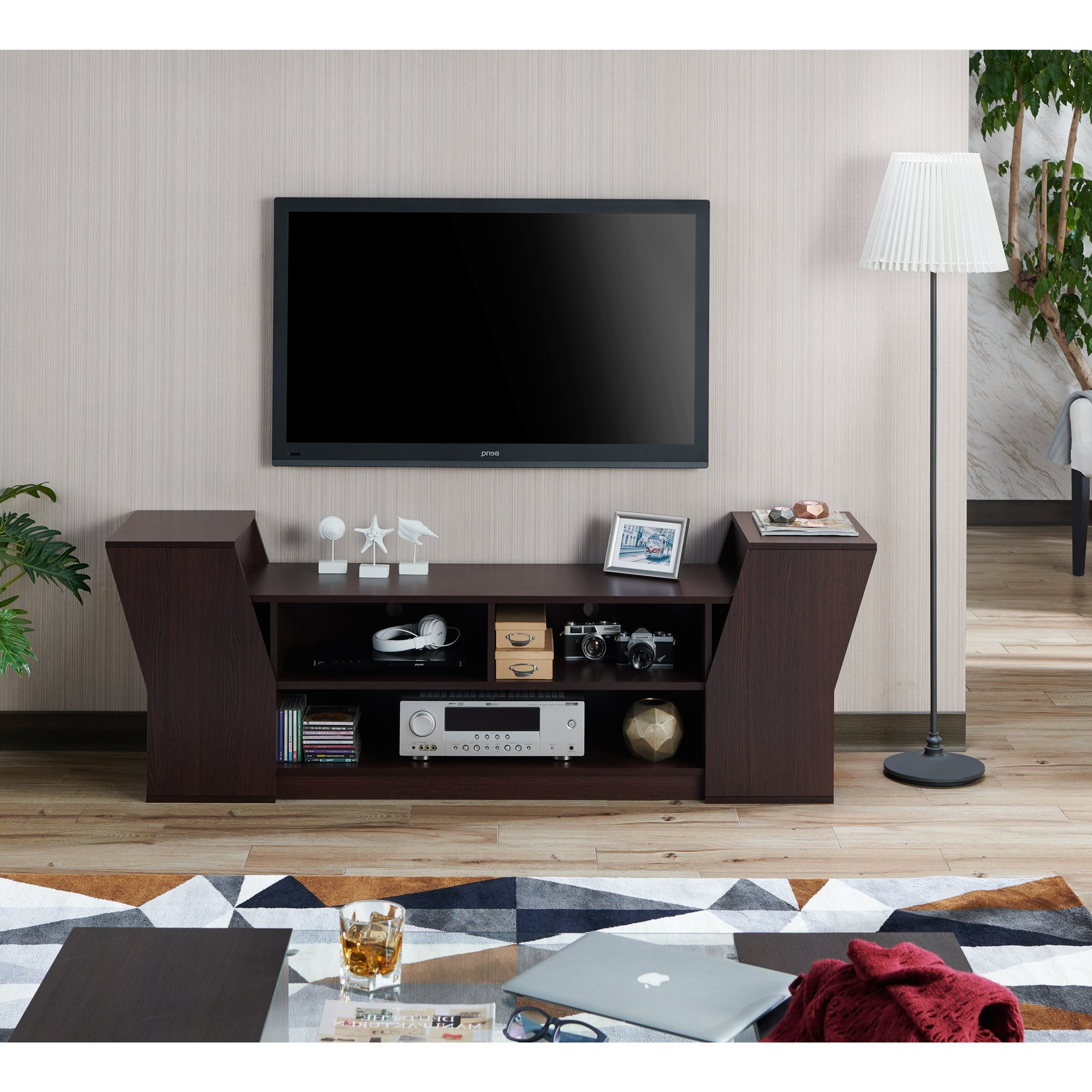 Shop Furniture Of America Paulson Contemporary 70 Inch Tv Stand – On In Casey Grey 74 Inch Tv Stands (View 9 of 20)