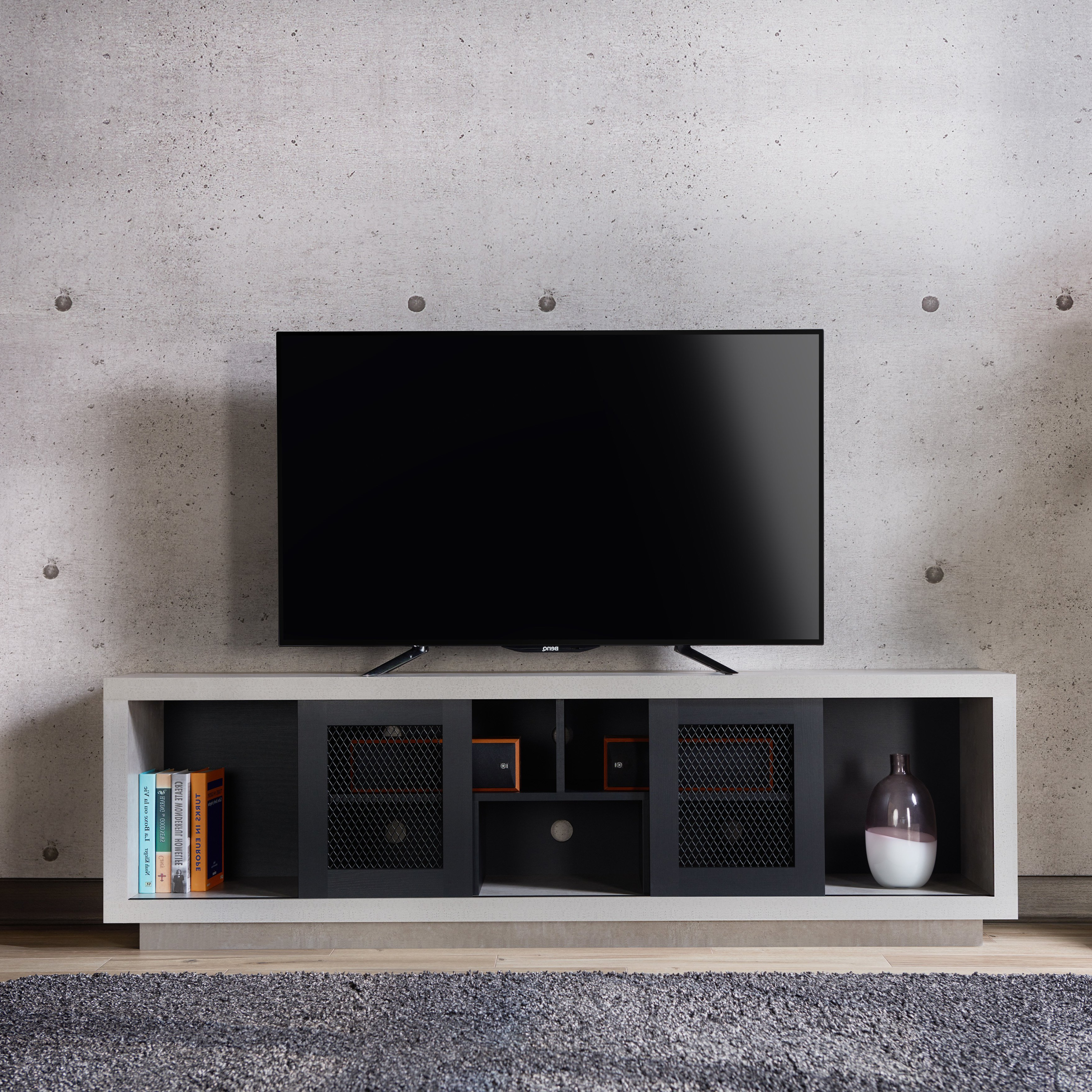 Shop Furniture Of America Selefin Industrial Cement Like Multi Throughout Casey Grey 54 Inch Tv Stands (View 5 of 20)