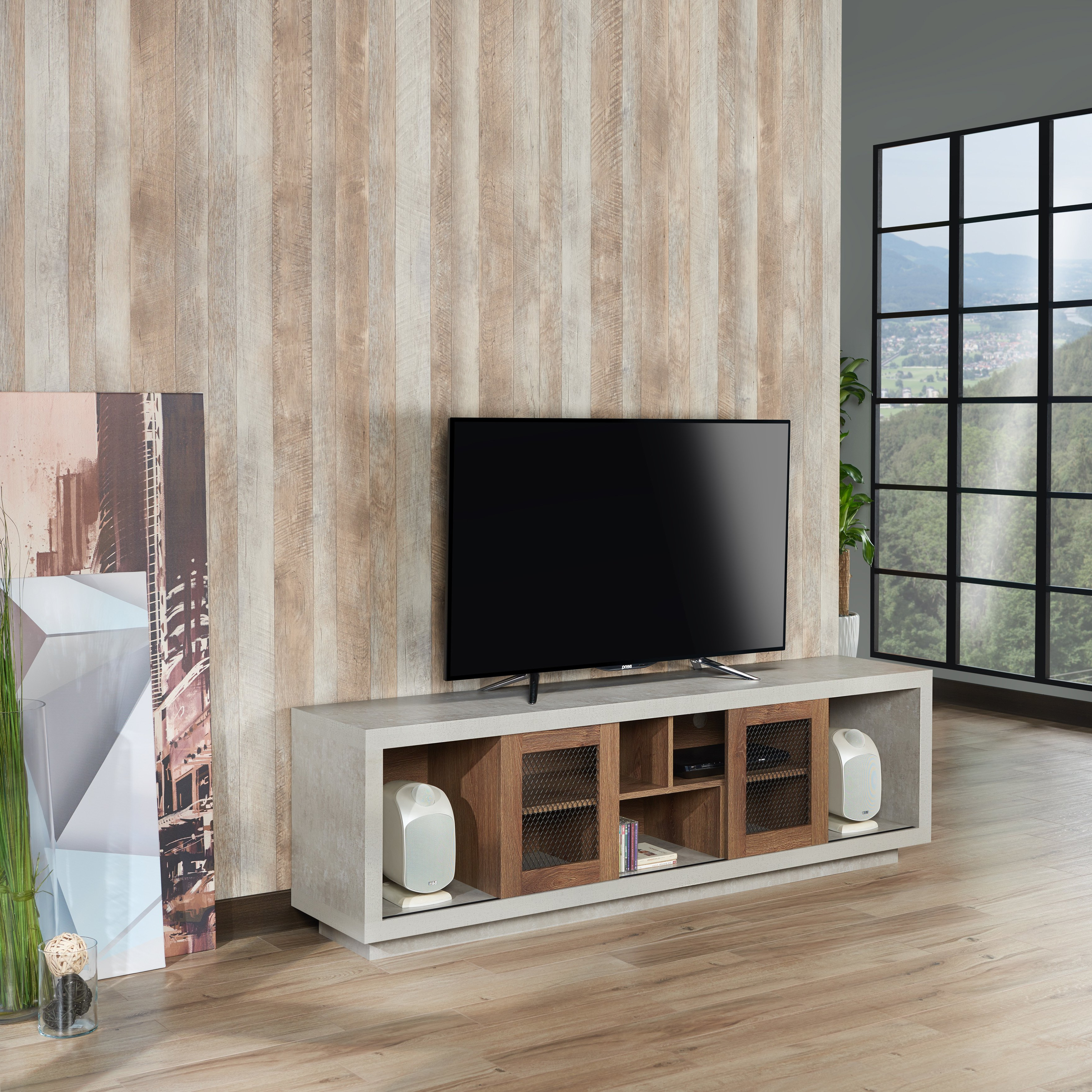Shop Furniture Of America Selefin Industrial Cement Like Multi With Regard To Casey Grey 54 Inch Tv Stands (View 19 of 20)