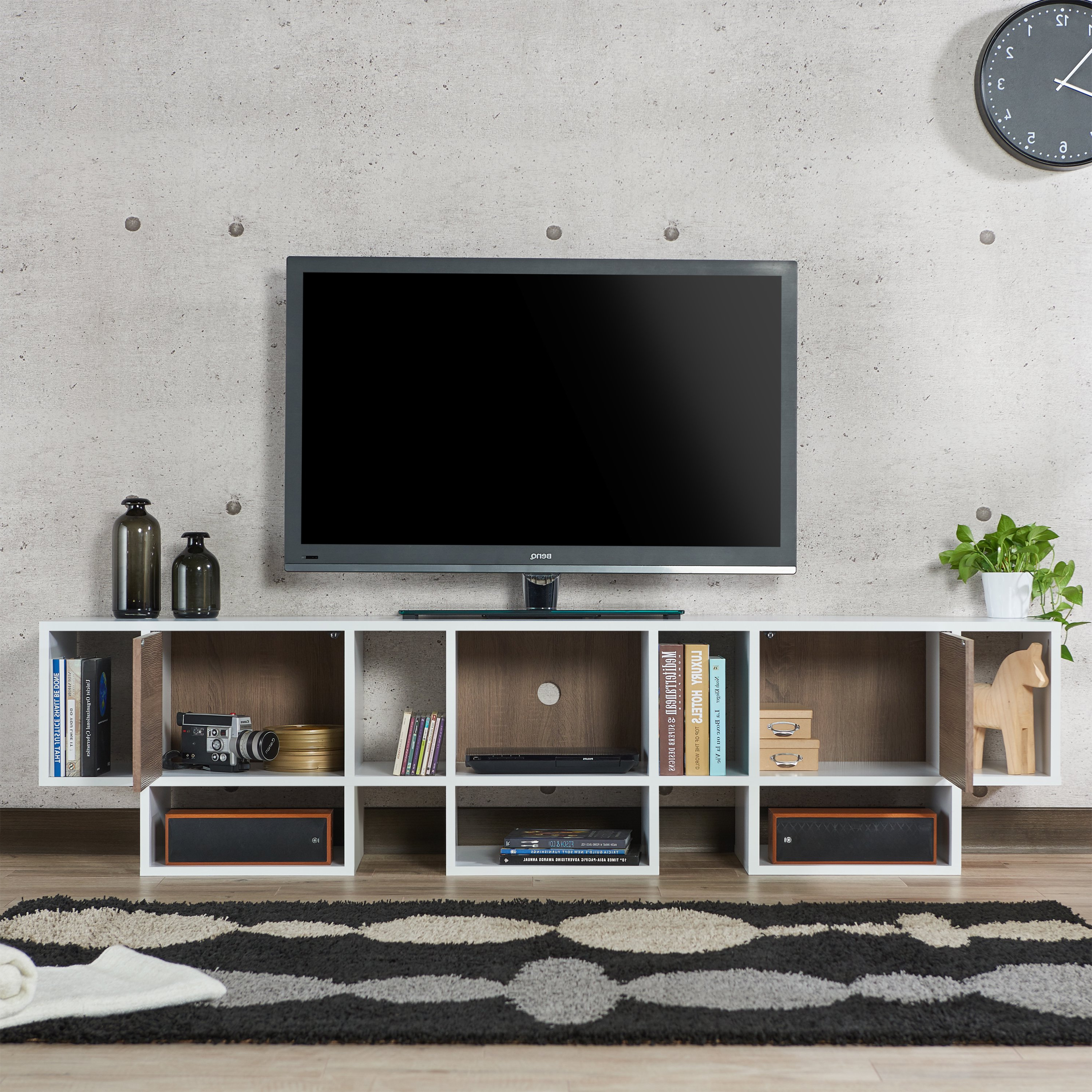 Shop Furniture Of America Veruca Contemporary Two Tone White In Noah Rustic White 66 Inch Tv Stands (View 11 of 20)