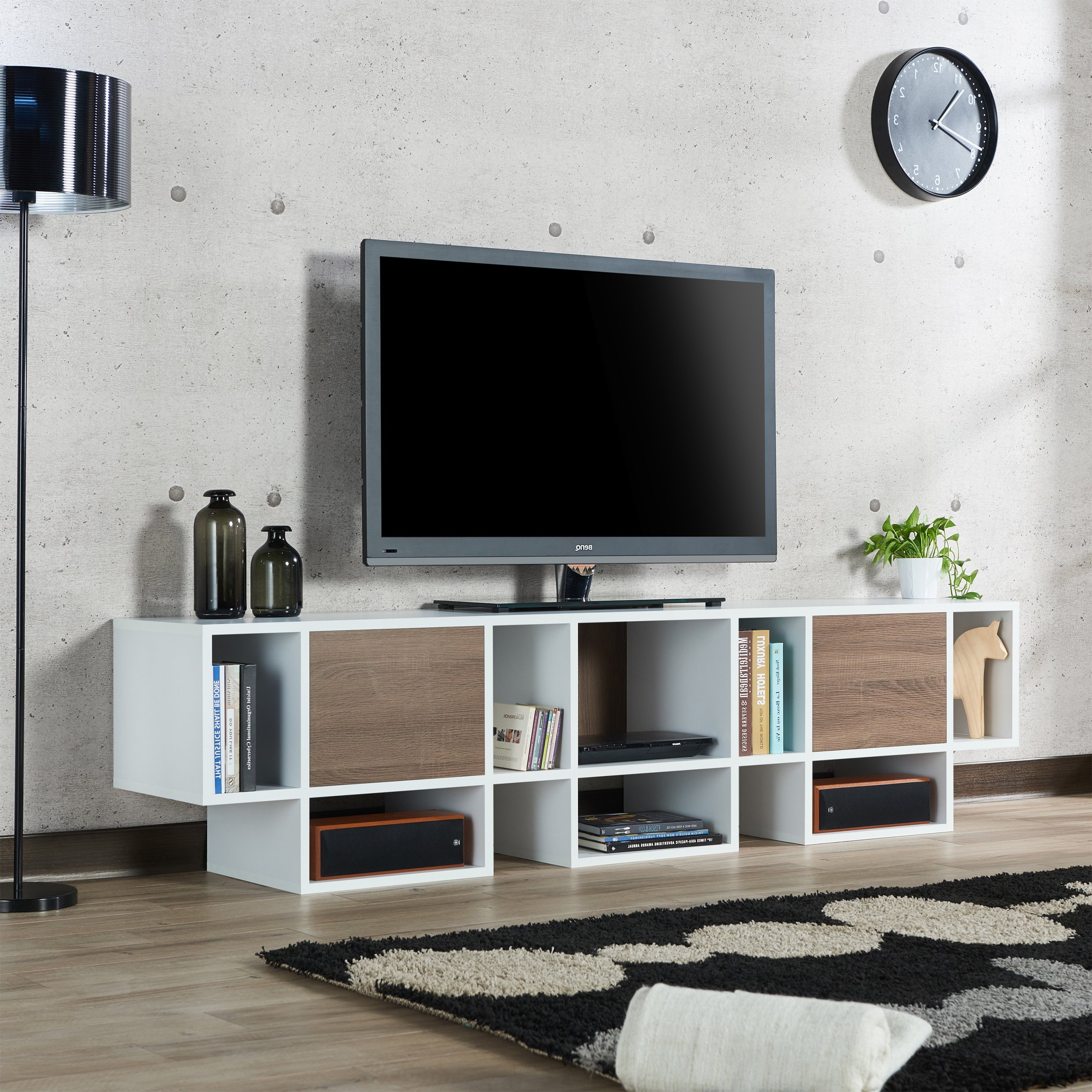 Shop Furniture Of America Veruca Contemporary Two Tone White In Noah Rustic White 66 Inch Tv Stands (View 10 of 20)
