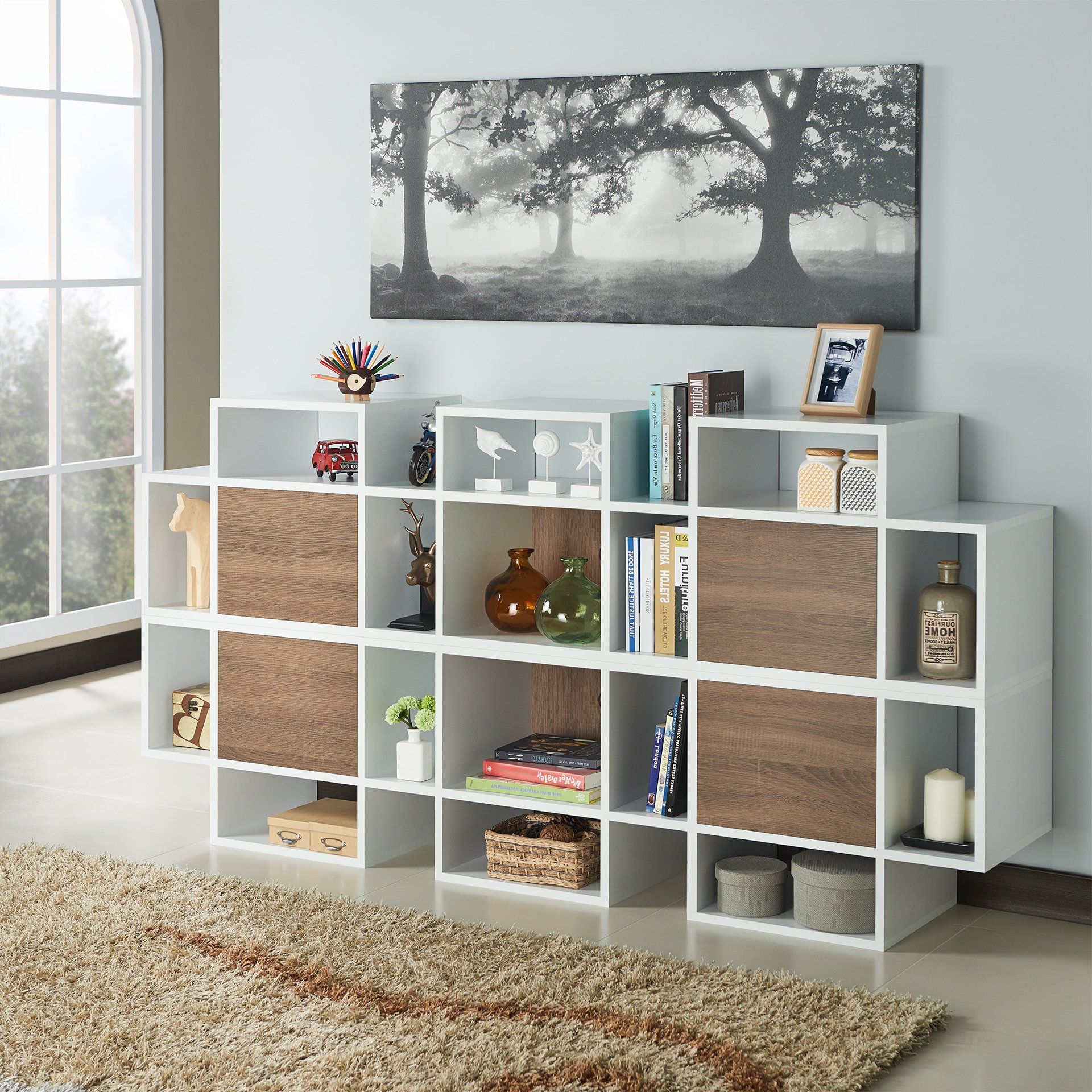 Shop Furniture Of America Veruca Contemporary Two Tone White Inside Noah Rustic White 66 Inch Tv Stands (View 13 of 20)