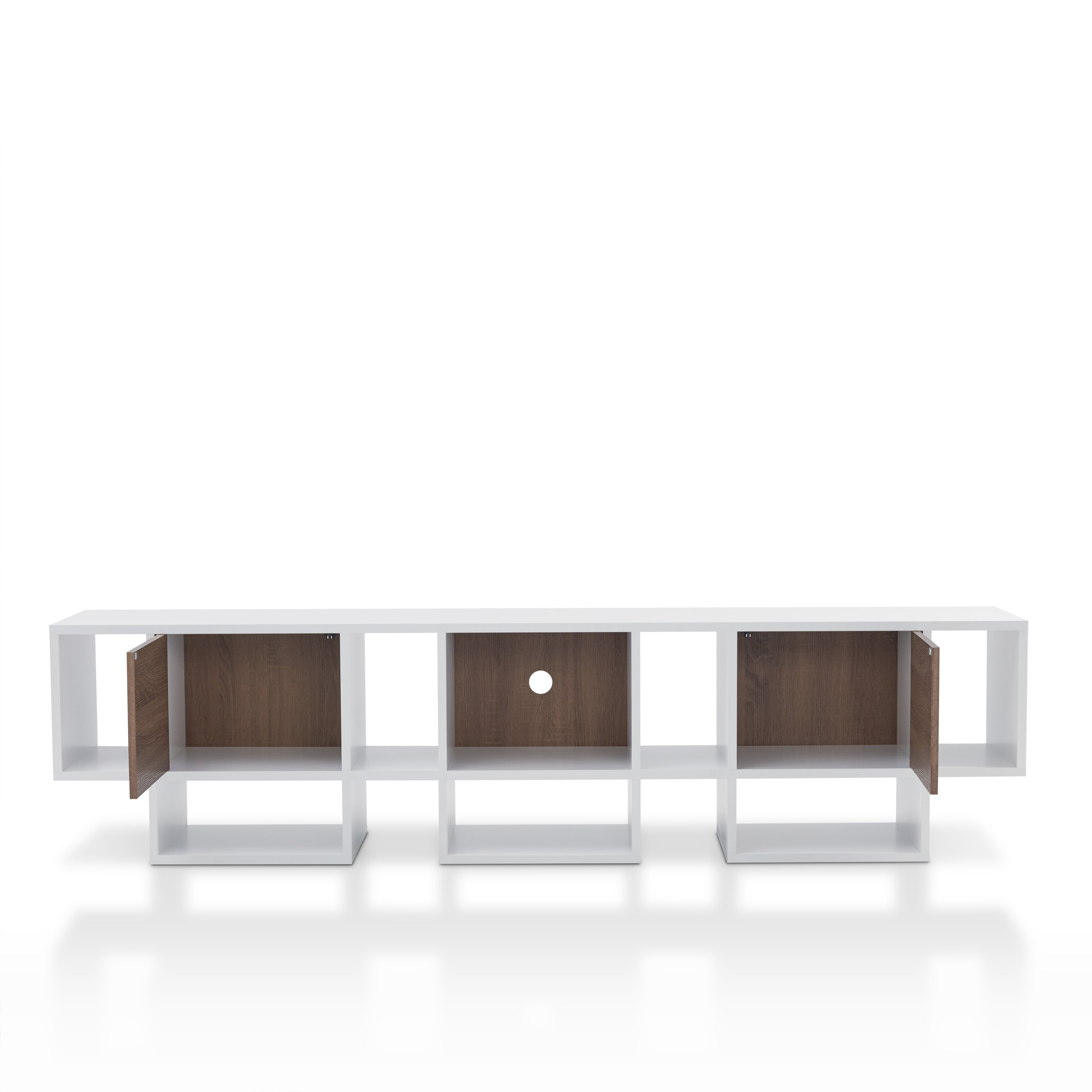 Shop Furniture Of America Veruca Contemporary Two Tone White With Noah Rustic White 66 Inch Tv Stands (Gallery 20 of 20)