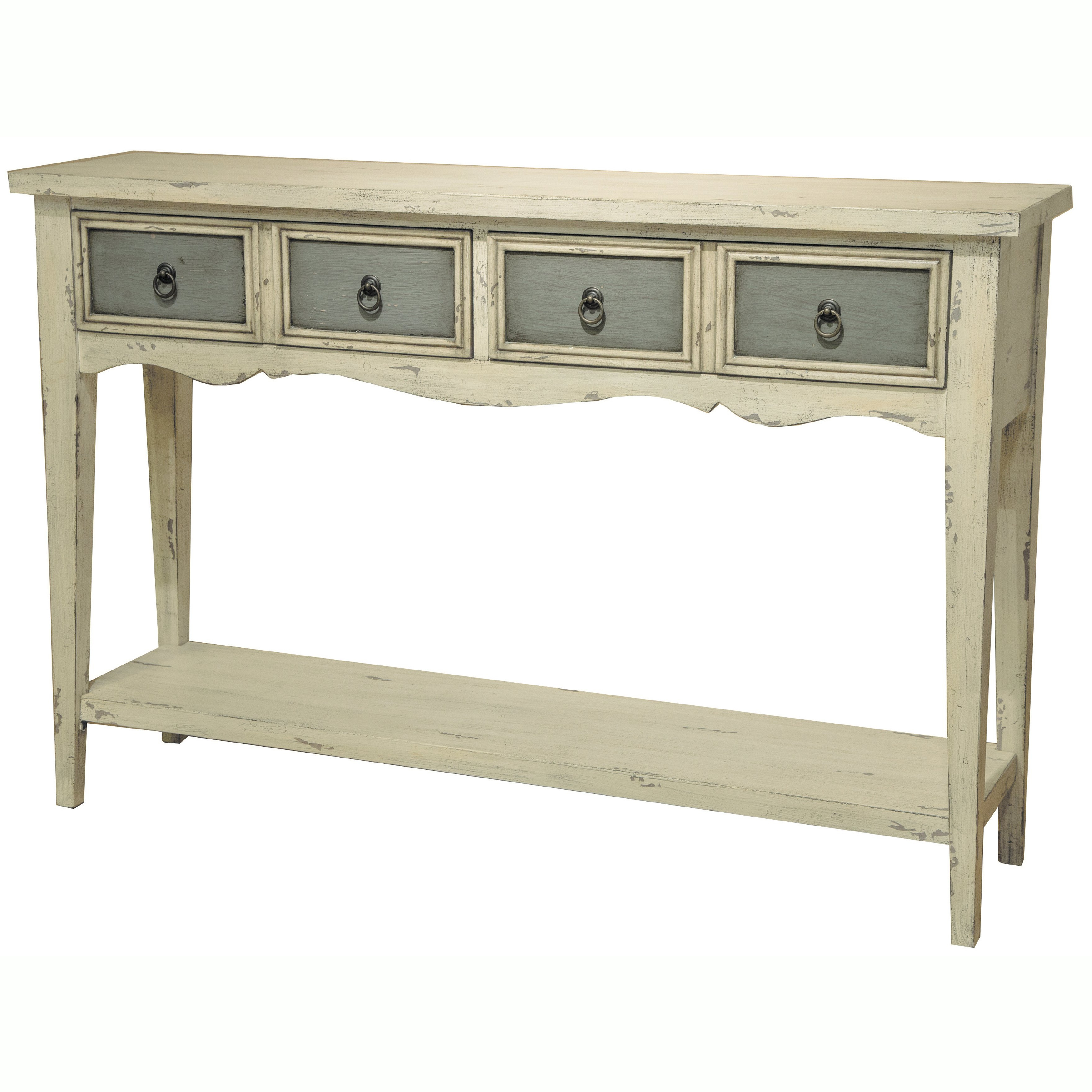 Shop Hand Painted Distressed Antique White Finish Accent Console With Antique White Distressed Console Tables (Gallery 5 of 20)