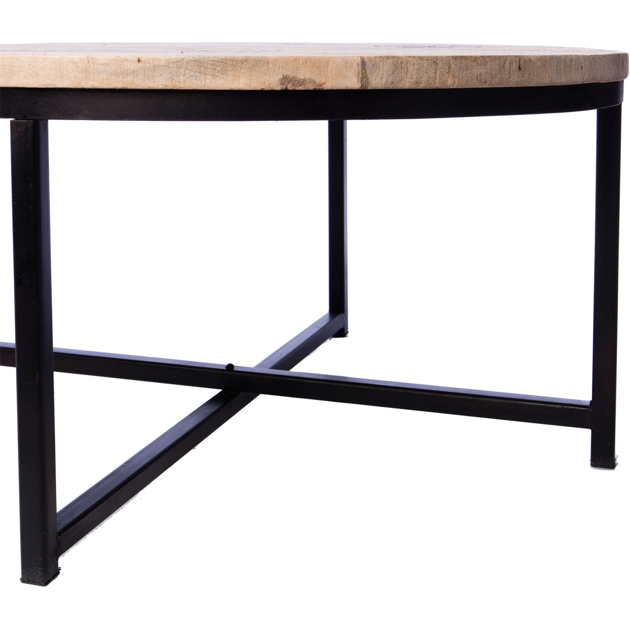 Shop Handmade Homemade French Stamped Mango Round Coffee Table In Mix Leather Imprint Metal Frame Console Tables (View 16 of 20)