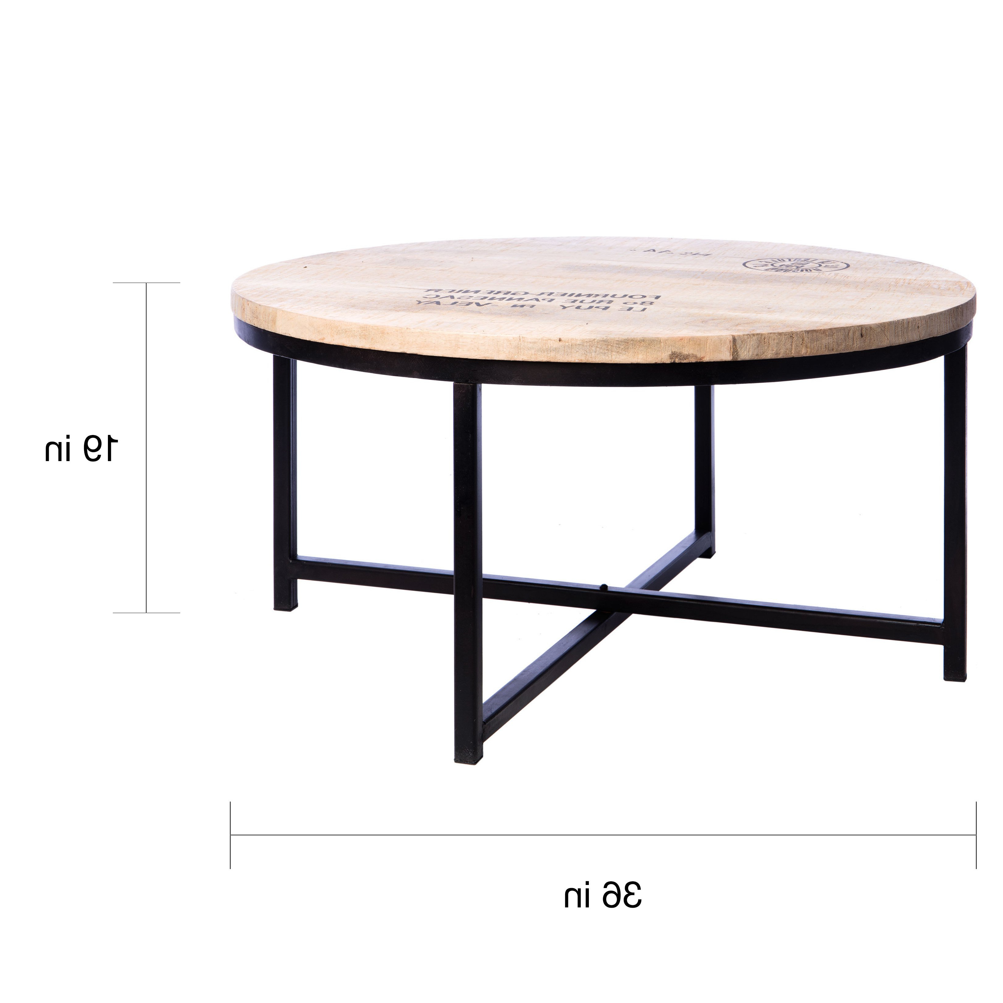 Shop Handmade Homemade French Stamped Mango Round Coffee Table Inside Mix Leather Imprint Metal Frame Console Tables (View 15 of 20)