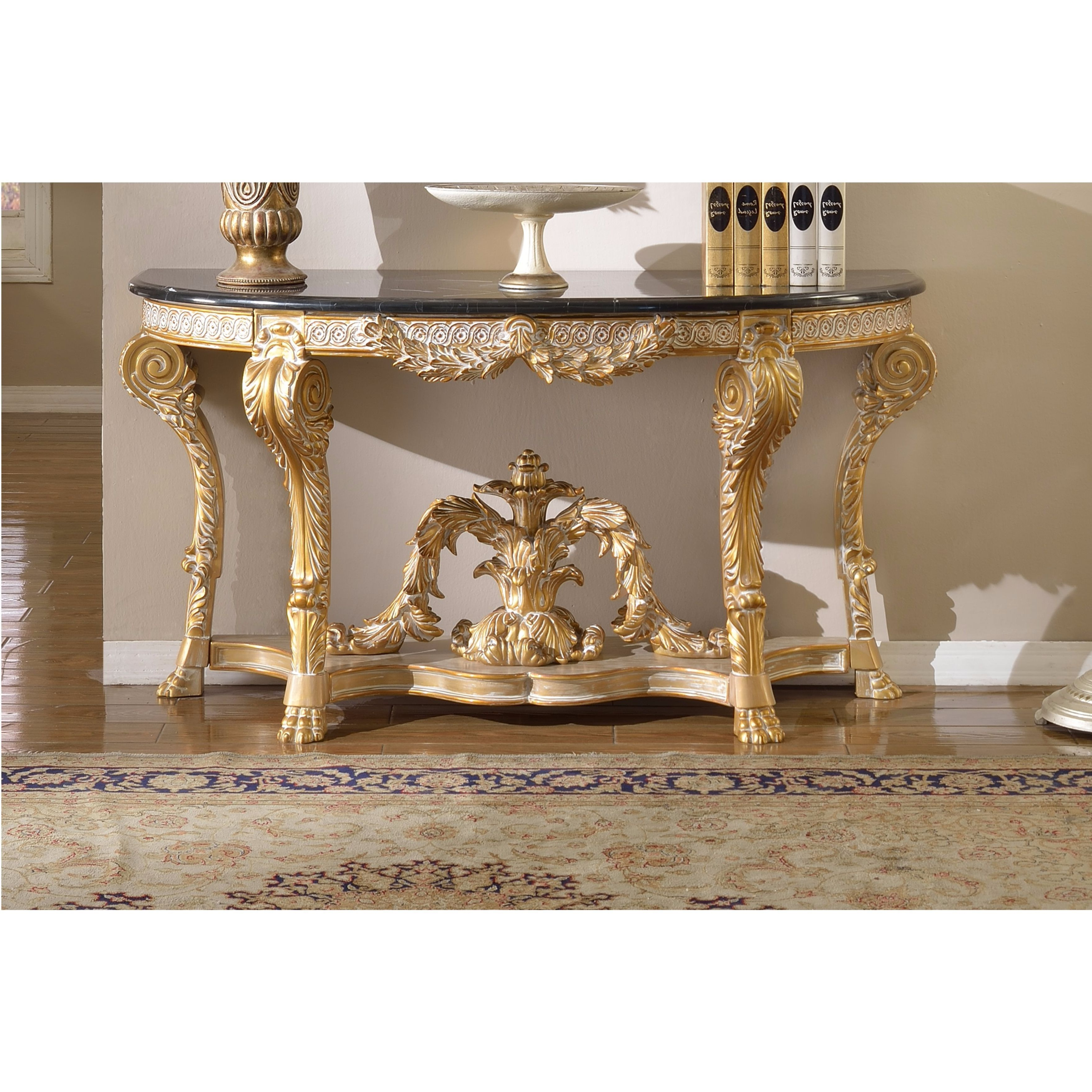 Shop Meridian Furniture Versailles Marble Top Gold Finish Console Pertaining To Roman Metal Top Console Tables (View 8 of 20)