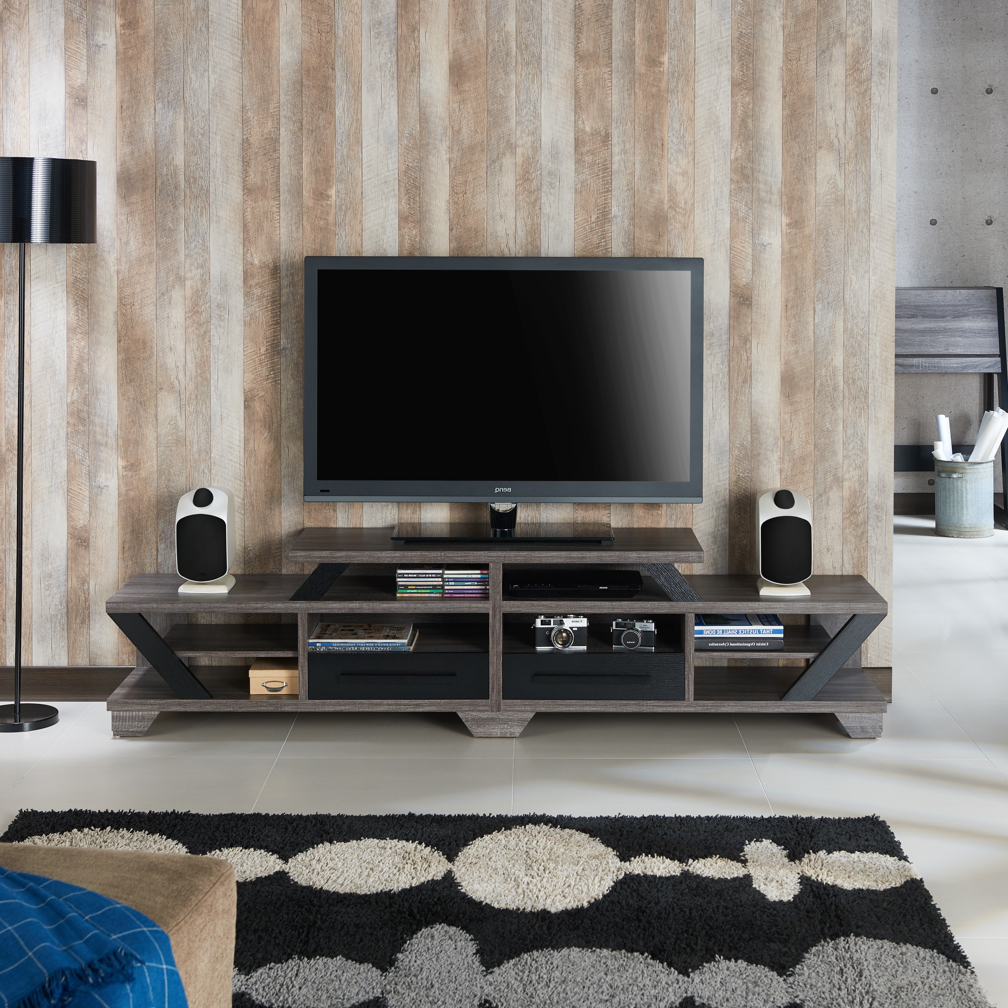 Shop Mezu Contemporary 82 Inch Distressed Grey Tv Standfoa – On In Noah 75 Inch Tv Stands (View 20 of 20)