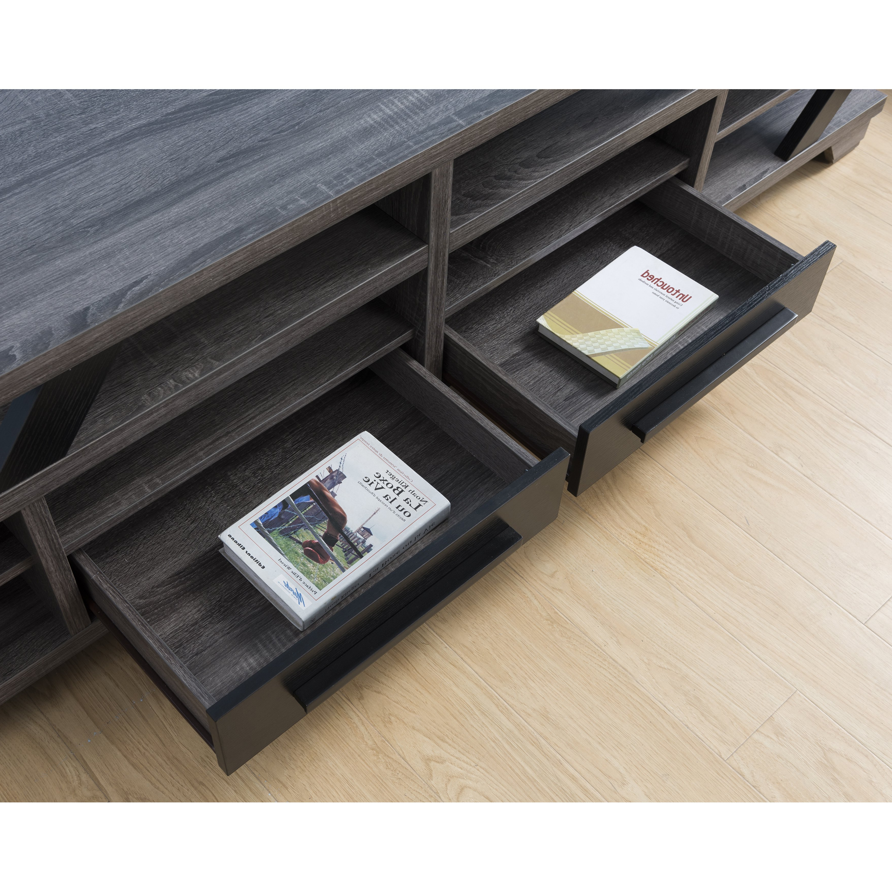 Shop Mezu Contemporary 82 Inch Distressed Grey Tv Standfoa – On Pertaining To Noah 75 Inch Tv Stands (Gallery 13 of 20)