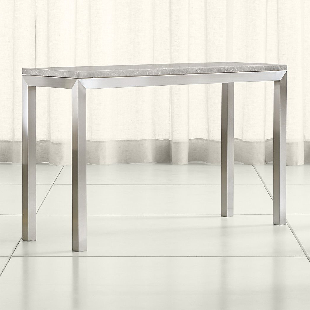 Shop Parsons Grey Marble Top/ Stainless Steel Base 48X16 Console. To Intended For Parsons Grey Solid Surface Top & Stainless Steel Base 48X16 Console Tables (Gallery 2 of 20)