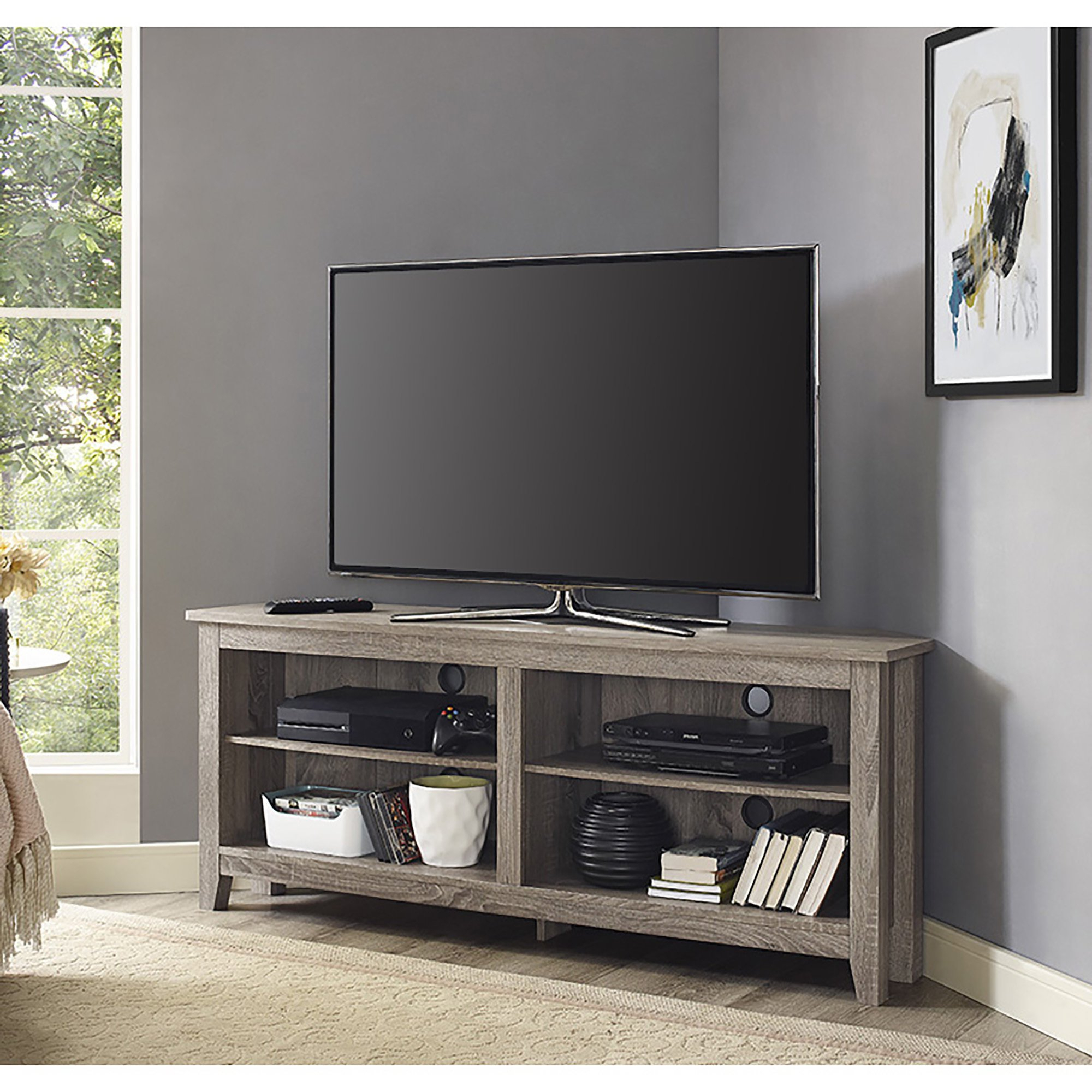 Shop Porch & Den Dexter 58 Inch Driftwood Corner Tv Stand – On Sale Pertaining To Century Sky 60 Inch Tv Stands (View 2 of 20)