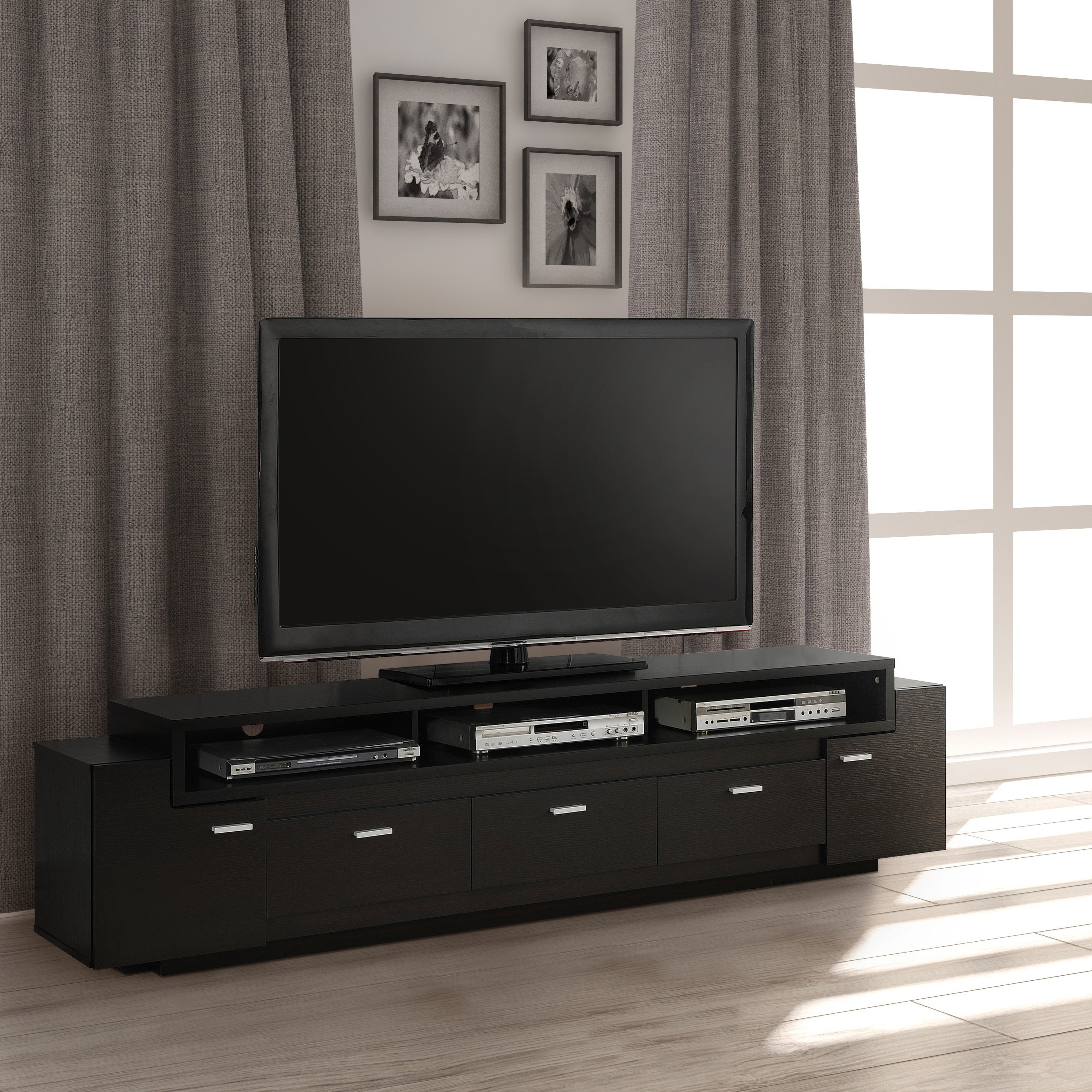 Shop Porch & Den Hubbard 84 Inch Tiered Tv Stand – On Sale – Free Intended For Ducar 84 Inch Tv Stands (View 7 of 20)