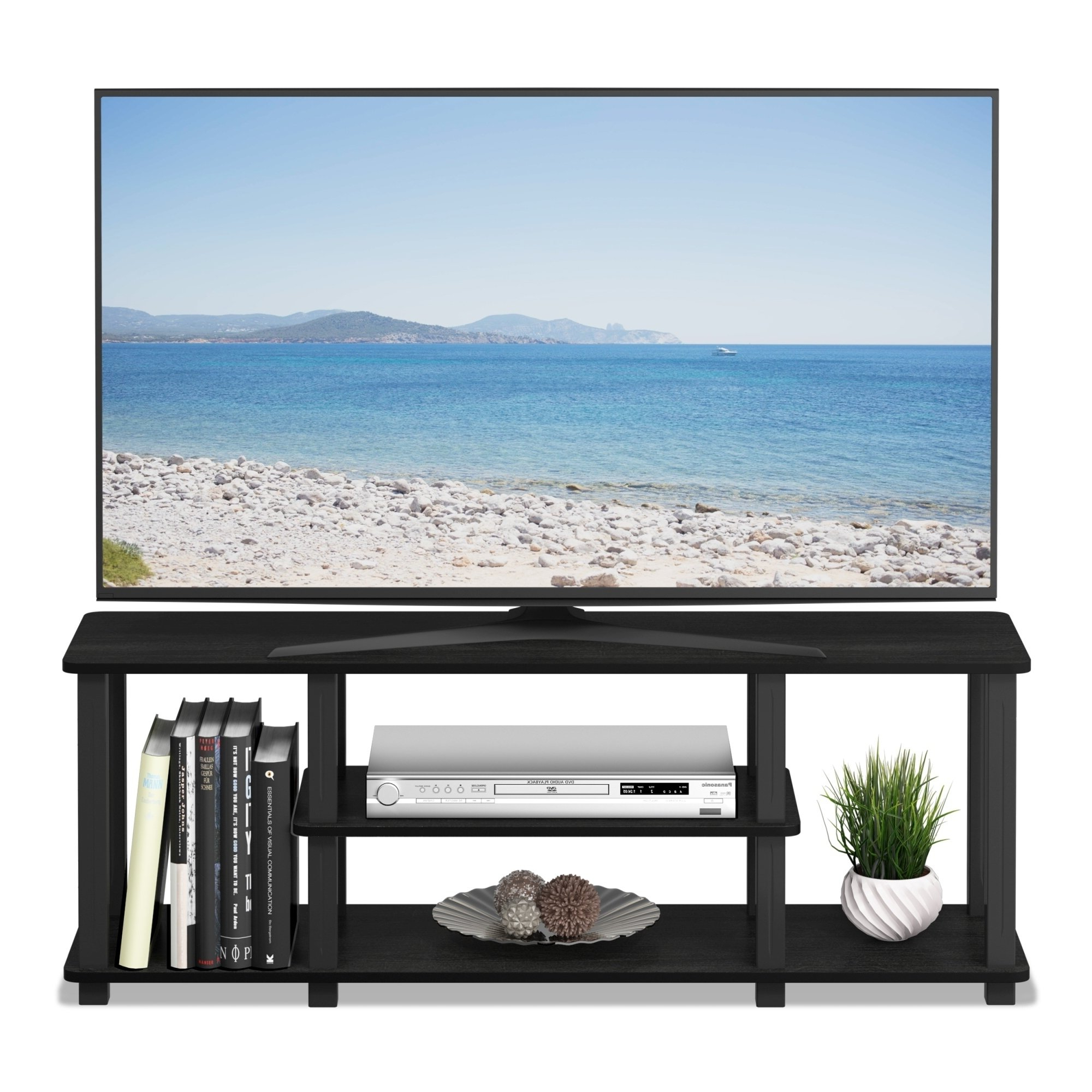Shop Porch & Den Stuyvesant Open Shelves 3 Tier Entertainment Tv For Casey Grey 66 Inch Tv Stands (View 19 of 20)