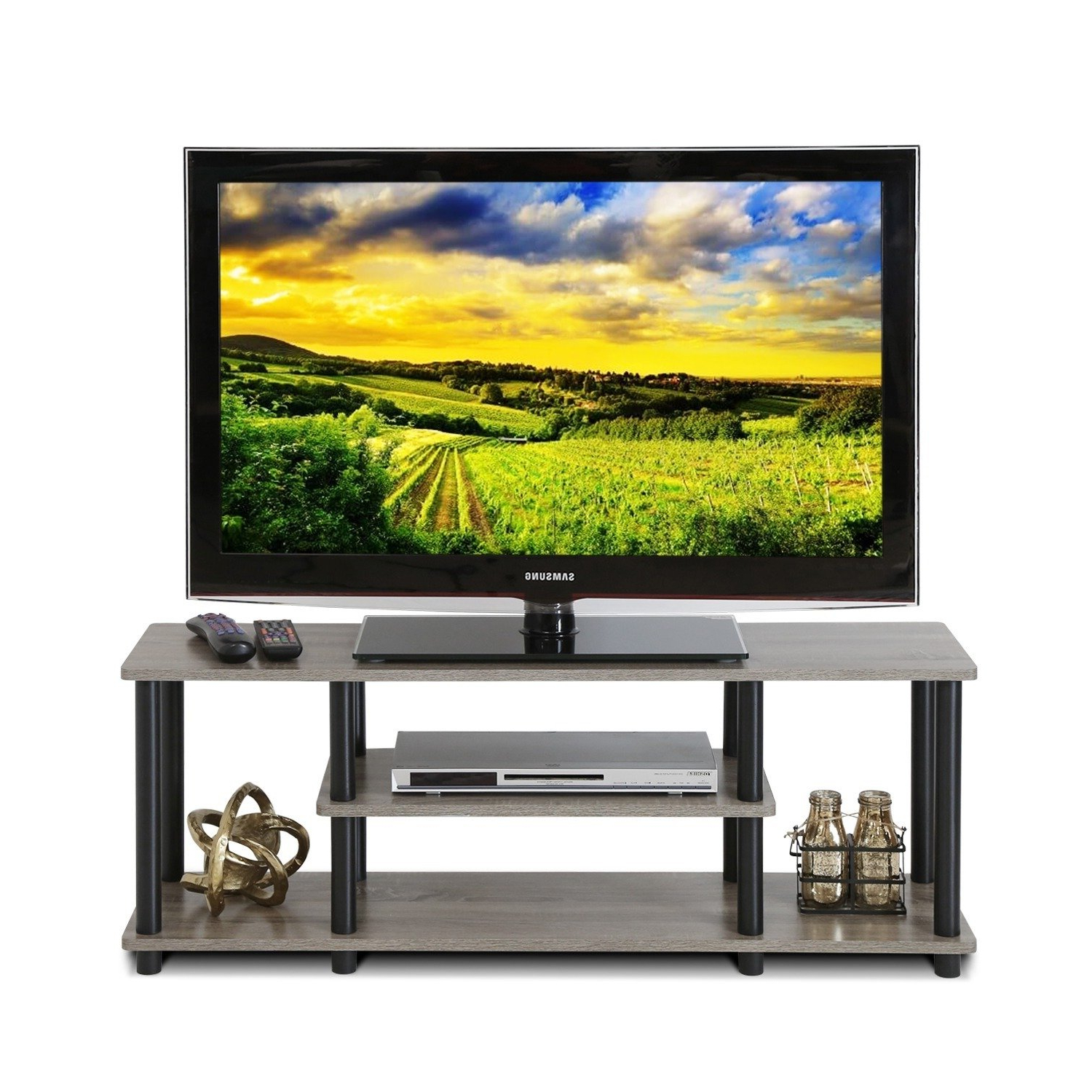 Shop Porch & Den Stuyvesant Open Shelves 3 Tier Entertainment Tv Regarding Casey Grey 66 Inch Tv Stands (View 18 of 20)