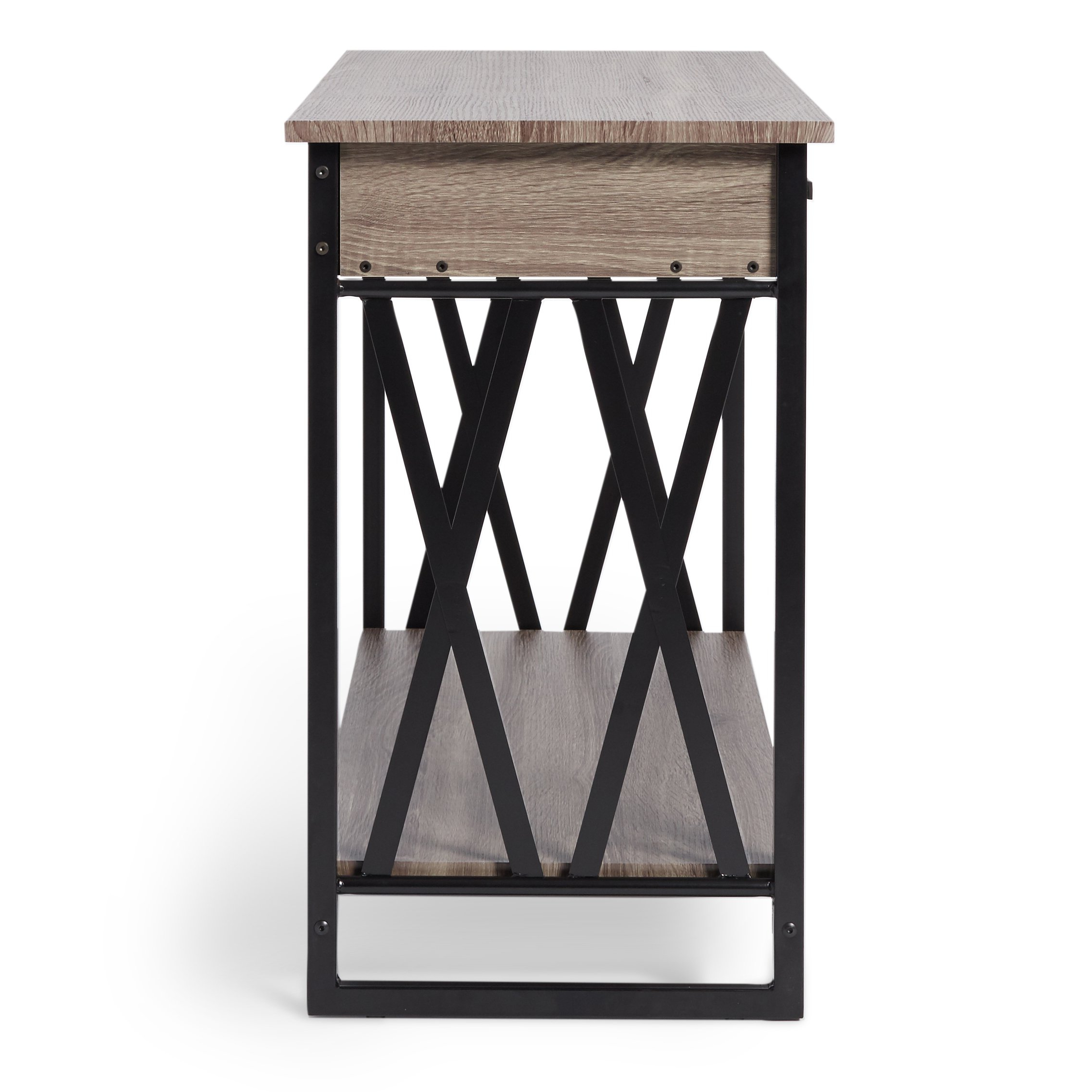Shop Seneca Reclaimed Finish Sofa Table – Free Shipping Today Inside Mix Leather Imprint Metal Frame Console Tables (View 11 of 20)