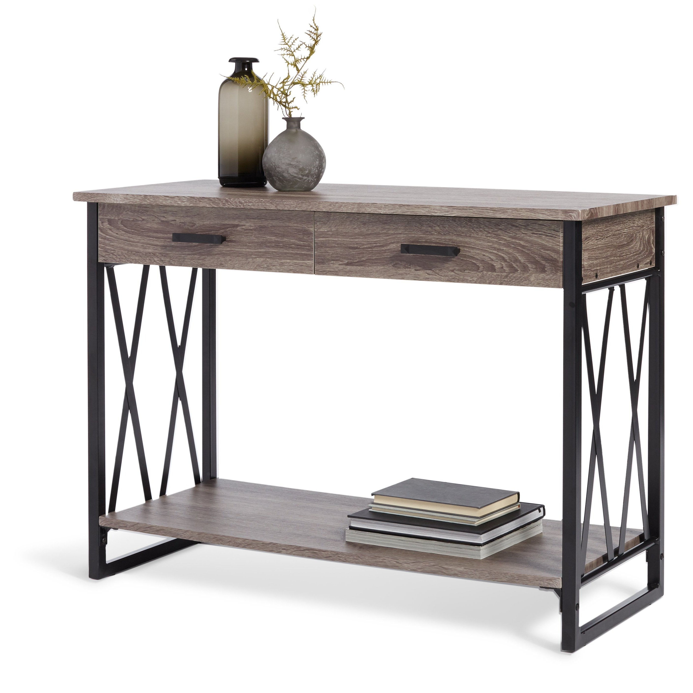 Shop Seneca Reclaimed Finish Sofa Table – Free Shipping Today Intended For Mix Leather Imprint Metal Frame Console Tables (View 17 of 20)