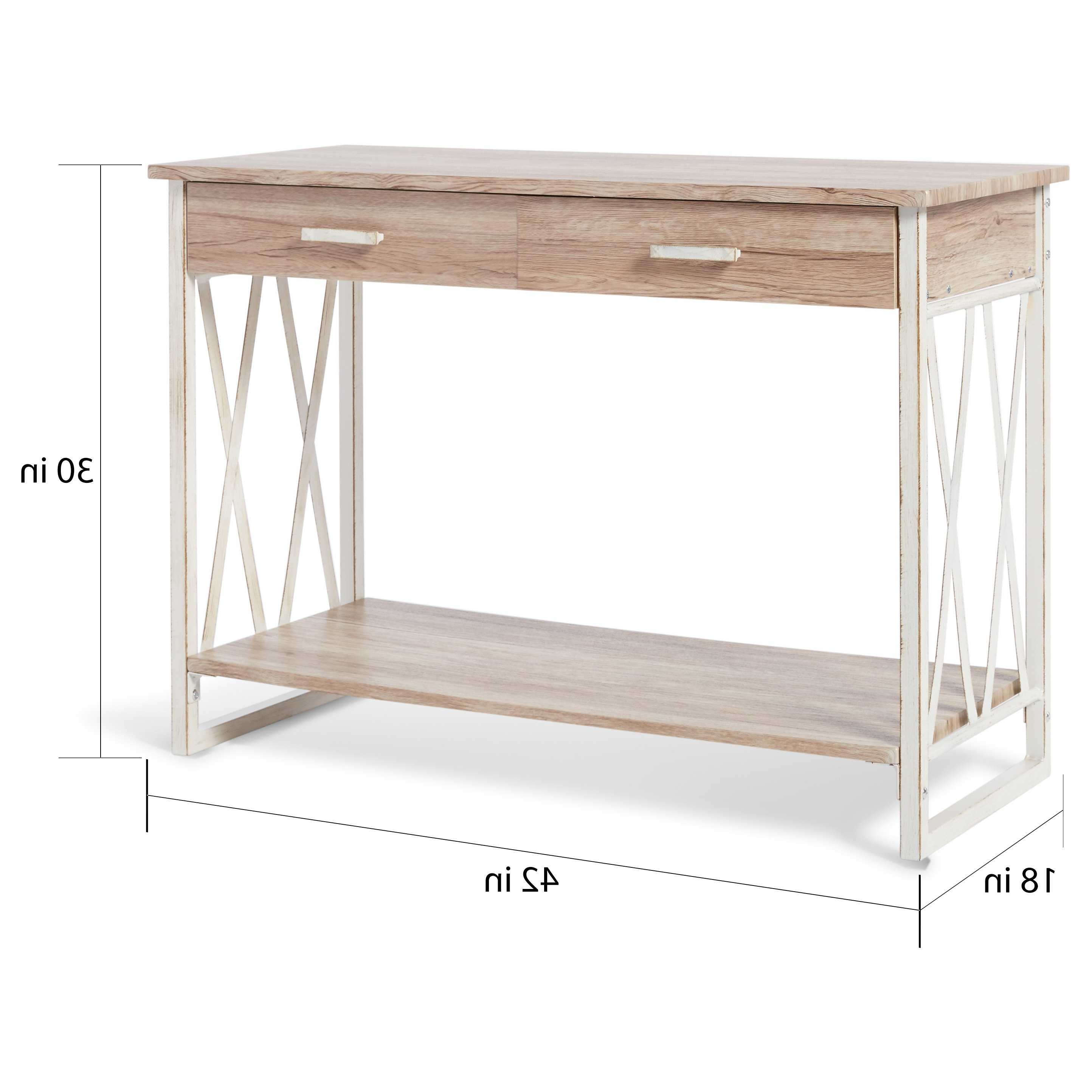 Shop Seneca Reclaimed Finish Sofa Table – Free Shipping Today Throughout Mix Leather Imprint Metal Frame Console Tables (Gallery 14 of 20)