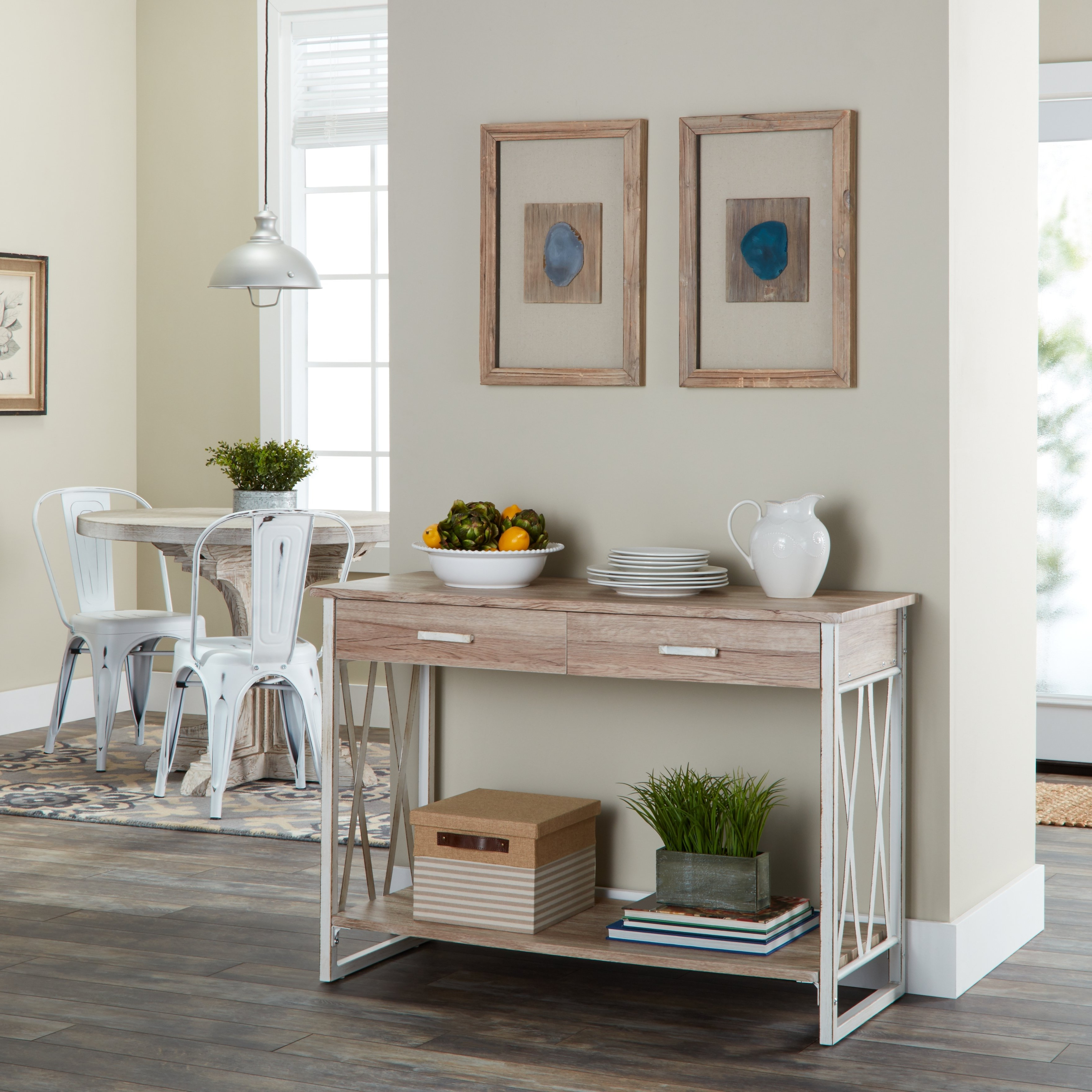 Shop Seneca Reclaimed Finish Sofa Table – Free Shipping Today With Mix Leather Imprint Metal Frame Console Tables (Gallery 19 of 20)