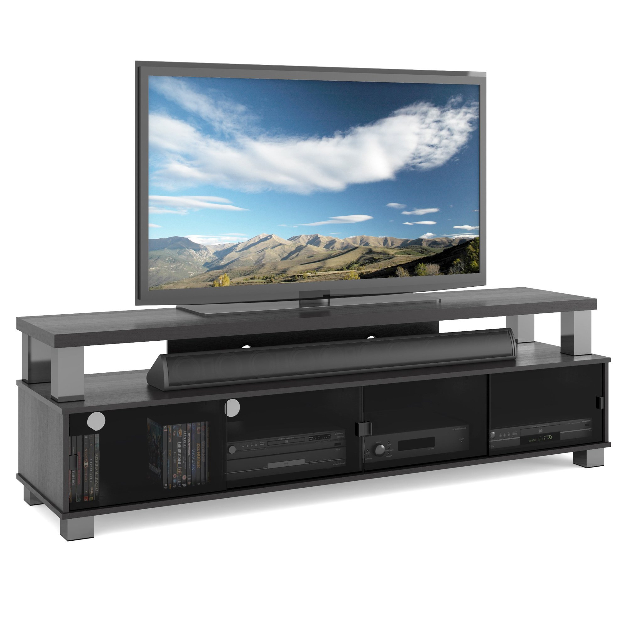 "Shop Two Tier Tv Bench In Ravenwood Black, For Tvs Up To 80"" – Free Within Oxford 84 Inch Tv Stands (View 18 of 20)"