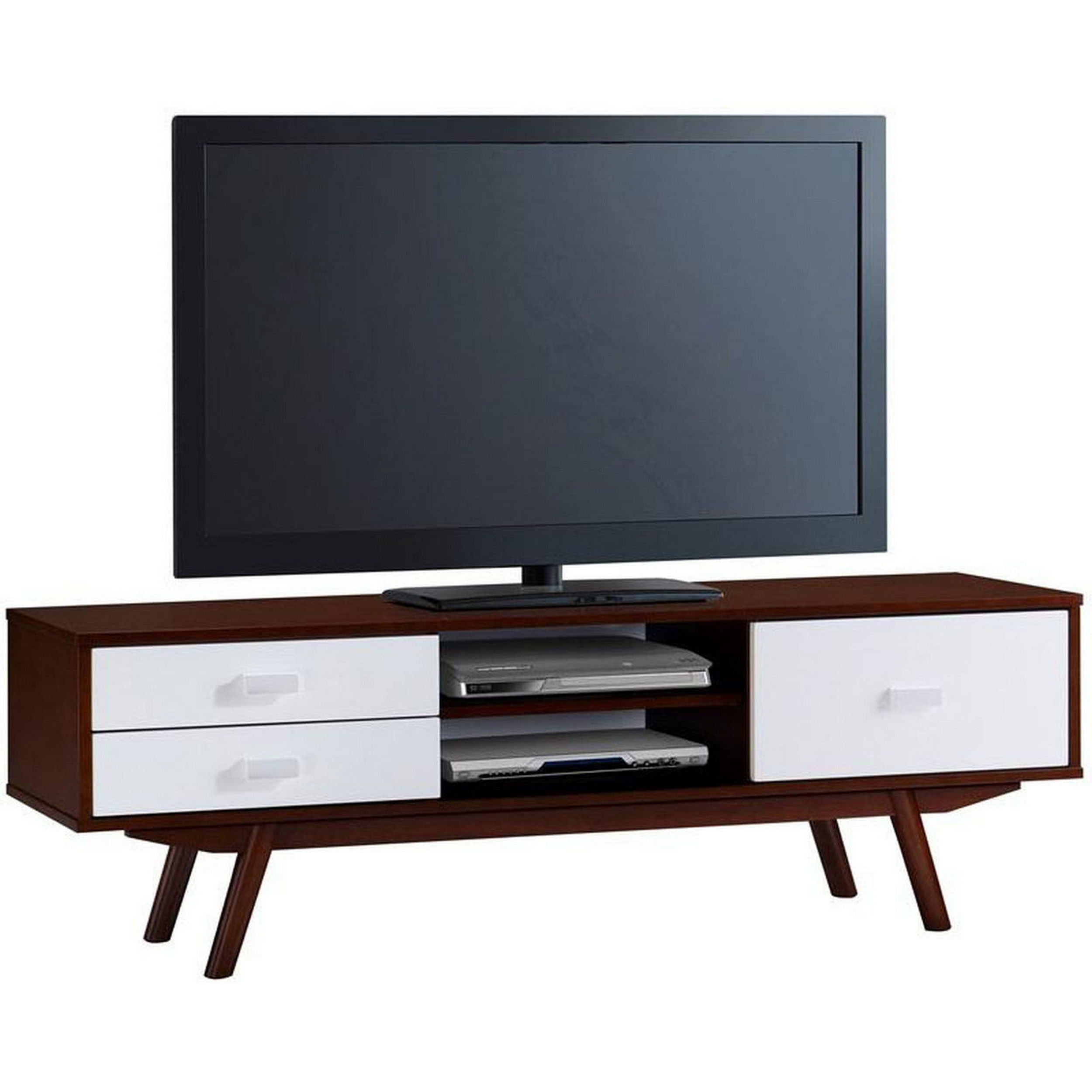 Shop Urban Designs Retro Wood Veneer Walnut 65 Tv Stand With Storage Regarding Rowan 64 Inch Tv Stands (View 20 of 20)