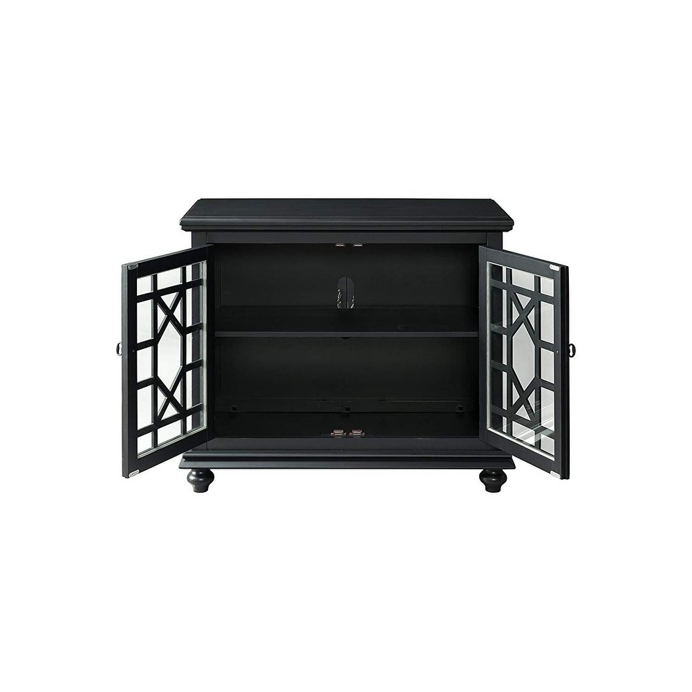 Shop Wooden Tv Stand With Trellis Detailed Doors, Antique Black For Maddy 60 Inch Tv Stands (View 16 of 20)